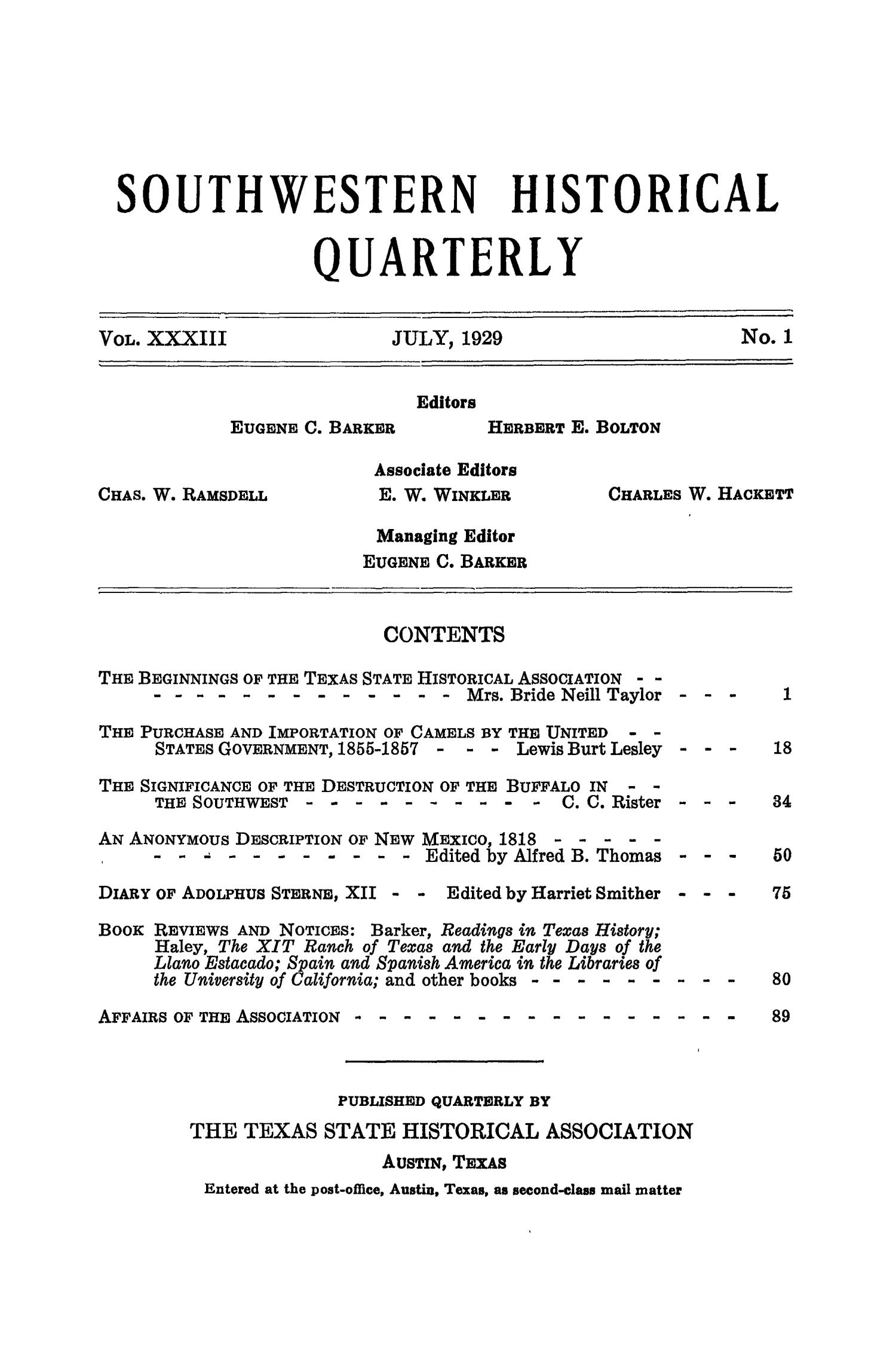 The Southwestern Historical Quarterly, Volume 33, July 1929 - April, 1930                                                                                                      None