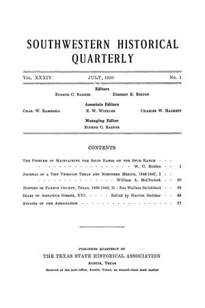 Primary view of object titled 'The Southwestern Historical Quarterly, Volume 34, July 1930 - April, 1931'.