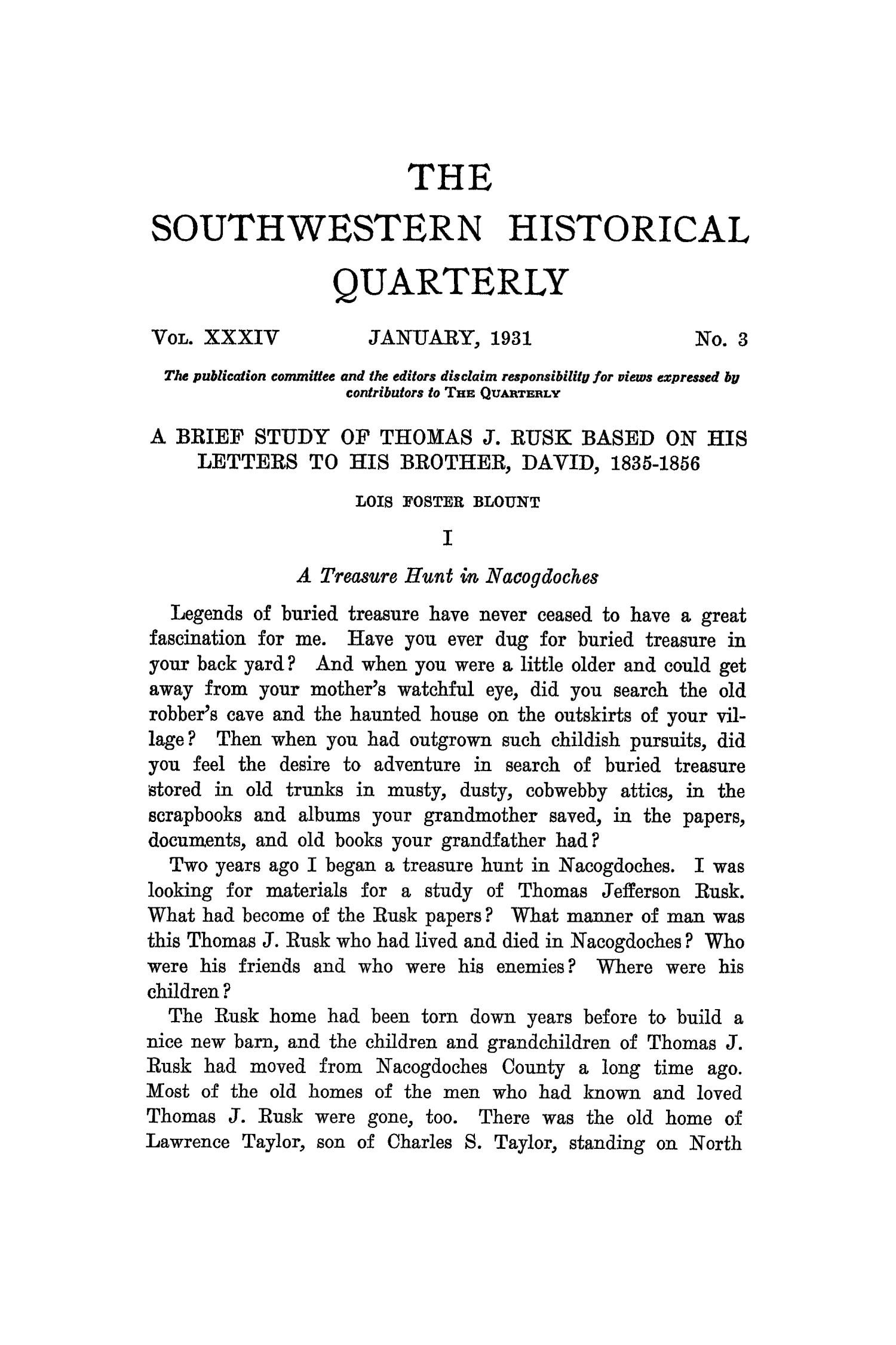 The Southwestern Historical Quarterly, Volume 34, July 1930 - April, 1931                                                                                                      181