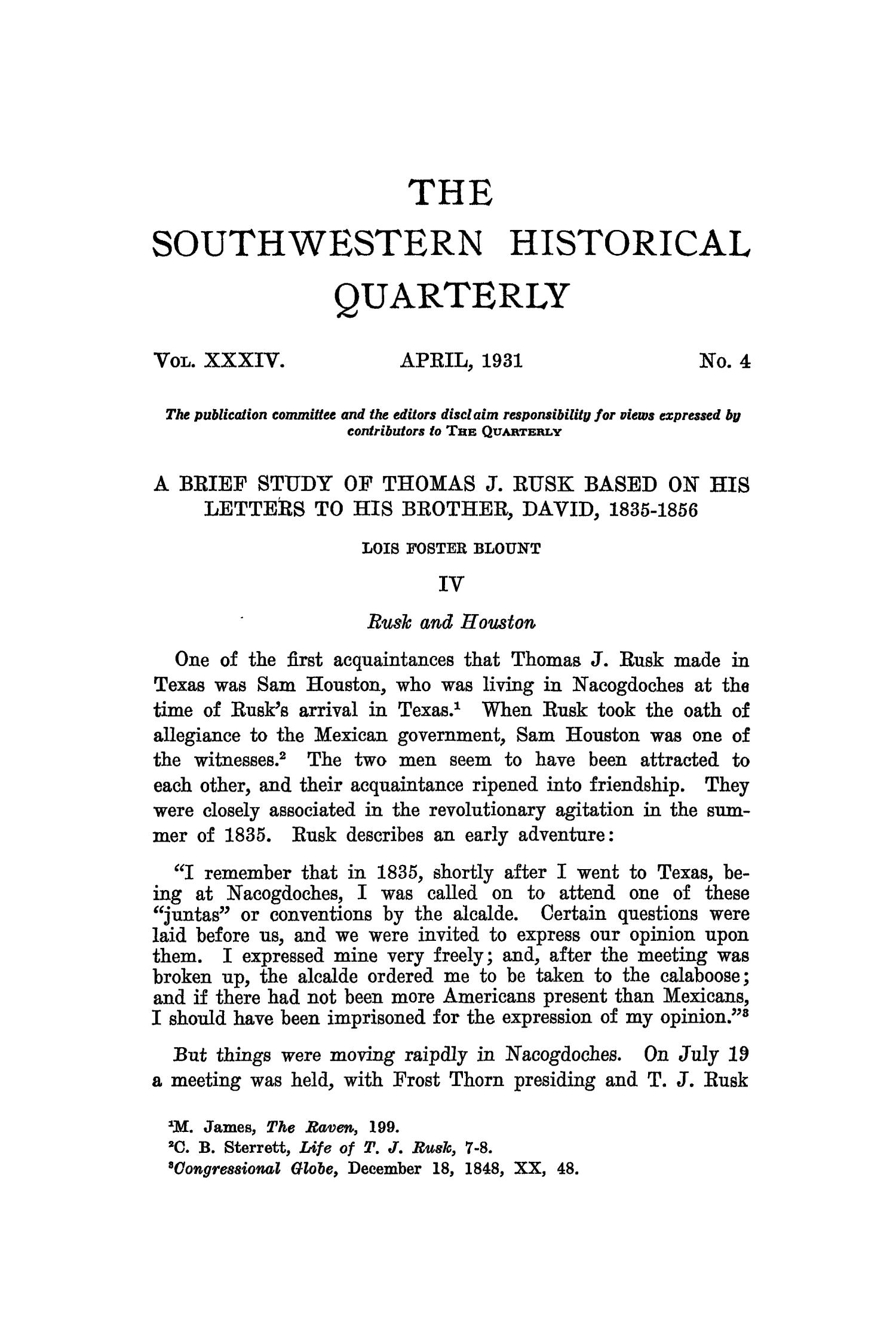 The Southwestern Historical Quarterly, Volume 34, July 1930 - April, 1931                                                                                                      271