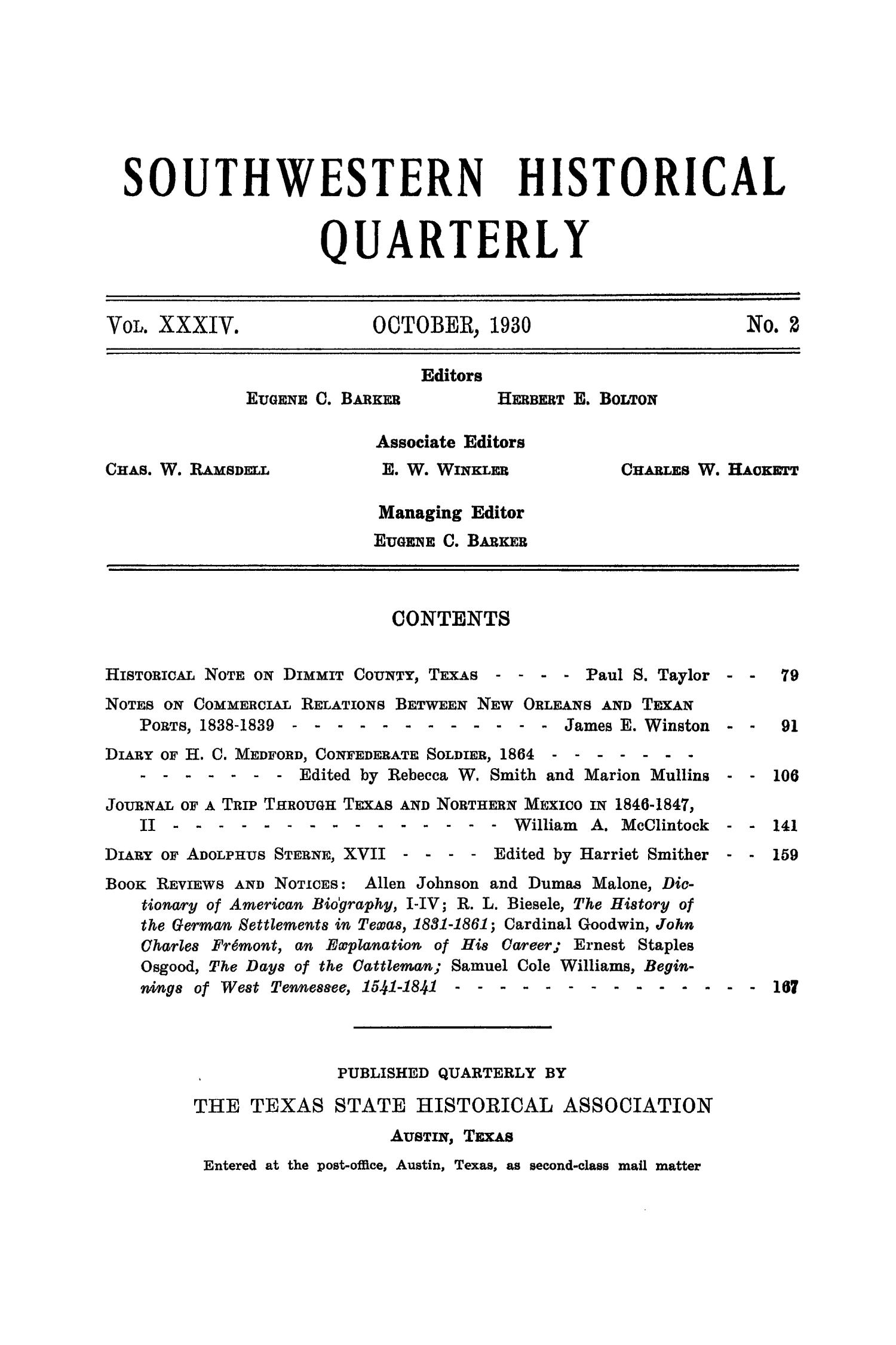 The Southwestern Historical Quarterly, Volume 34, July 1930 - April, 1931                                                                                                      None