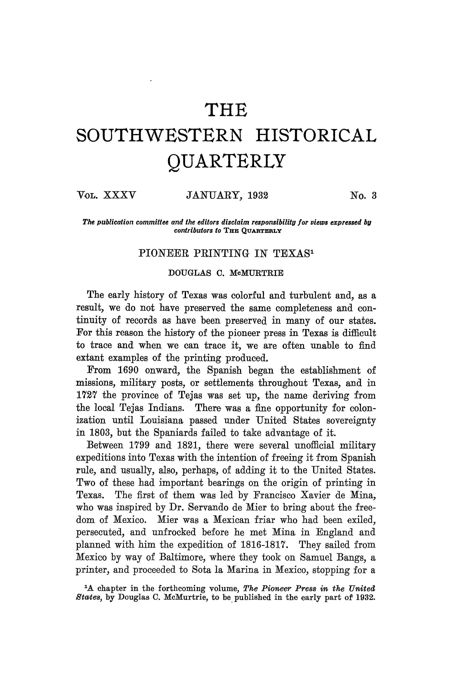 The Southwestern Historical Quarterly, Volume 35, July 1931 - April, 1932                                                                                                      173