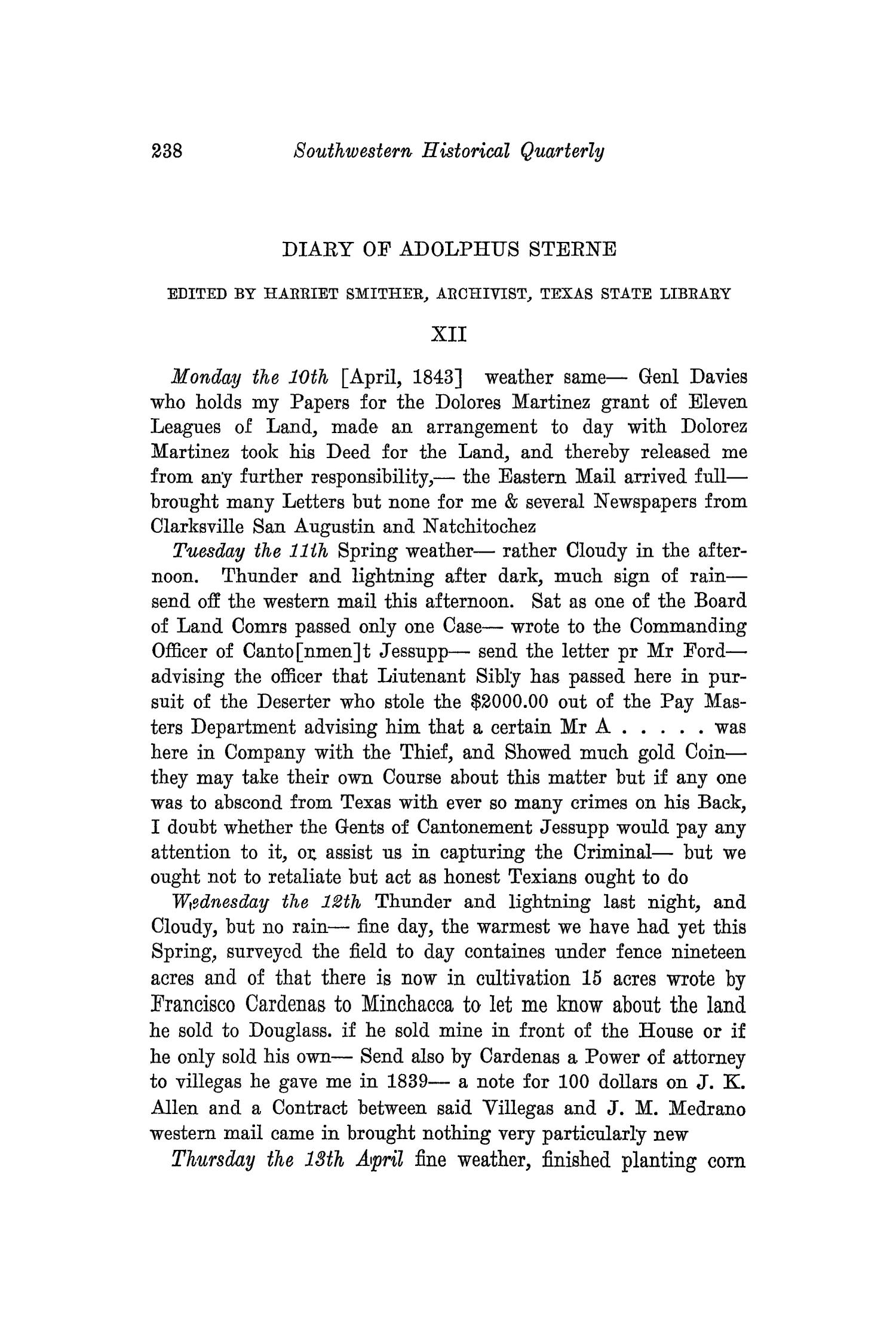 The Southwestern Historical Quarterly, Volume 35, July 1931 - April, 1932                                                                                                      238