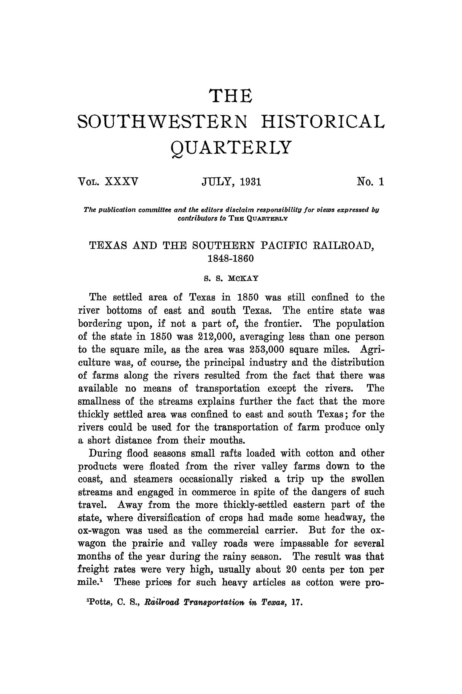 The Southwestern Historical Quarterly, Volume 35, July 1931 - April, 1932                                                                                                      1