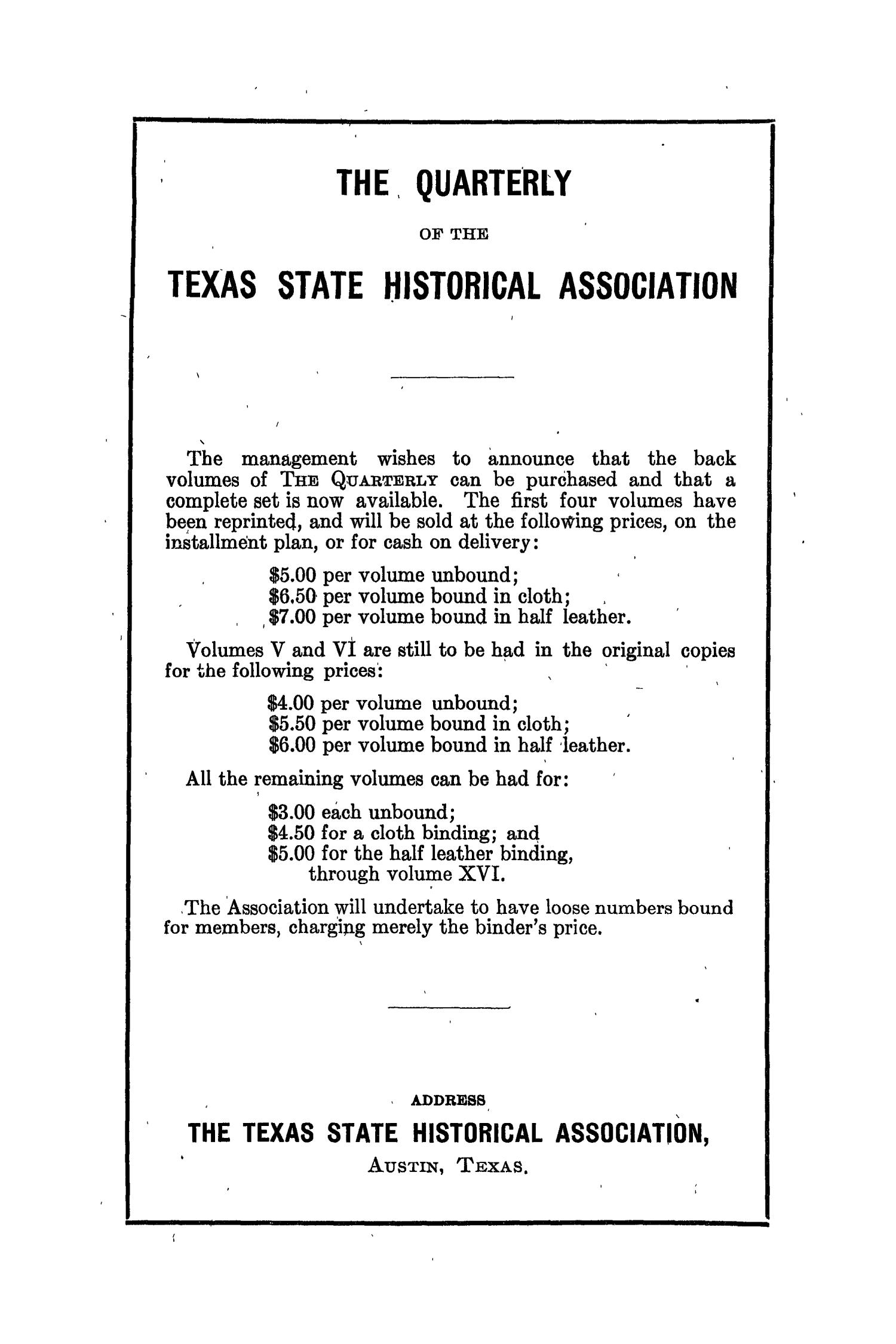 The Southwestern Historical Quarterly, Volume 36, July 1932 - April, 1933                                                                                                      None
