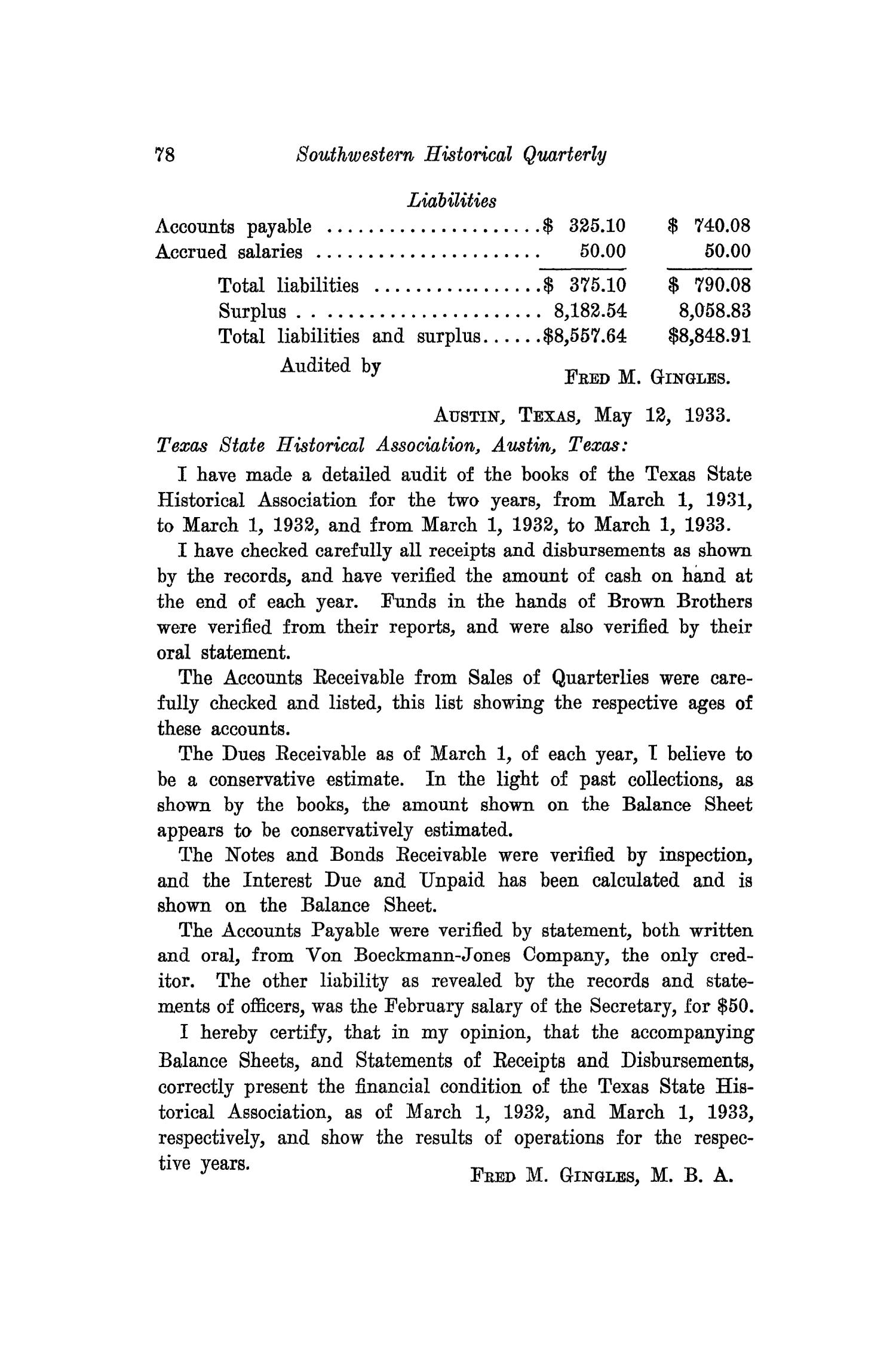 The Southwestern Historical Quarterly, Volume 37, July 1933 - April, 1934                                                                                                      78
