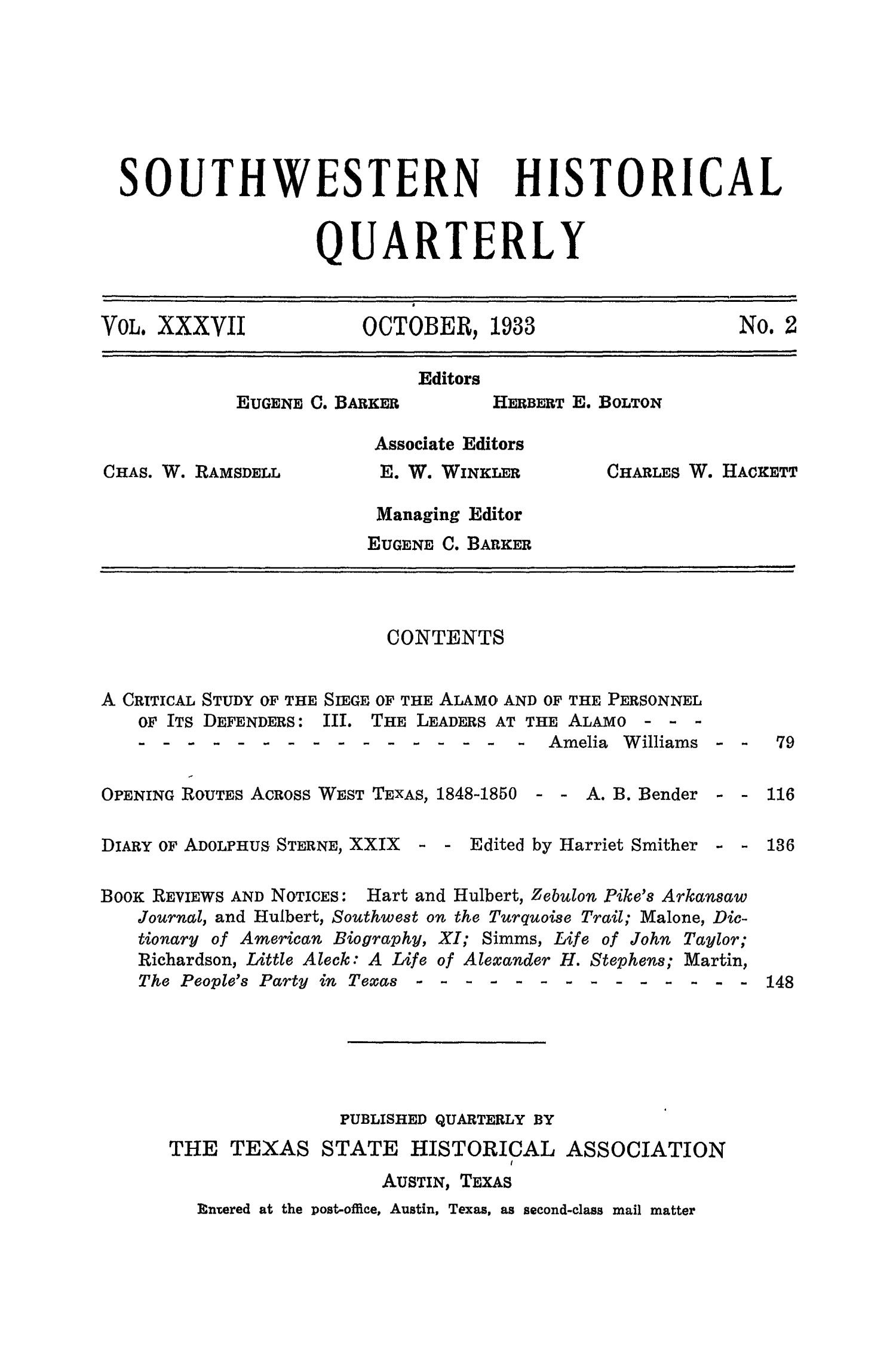 The Southwestern Historical Quarterly, Volume 37, July 1933 - April, 1934                                                                                                      None