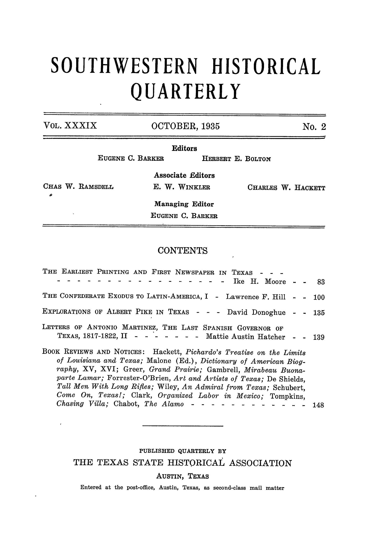 The Southwestern Historical Quarterly, Volume 39, July 1935 - April, 1936                                                                                                      None