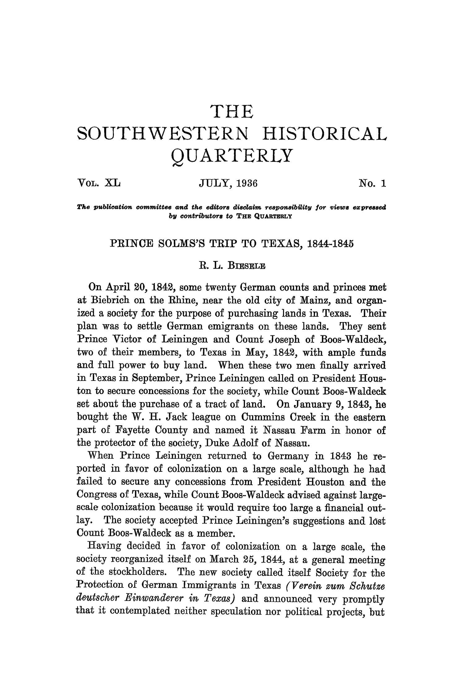 The Southwestern Historical Quarterly, Volume 40, July 1936 - April, 1937                                                                                                      1