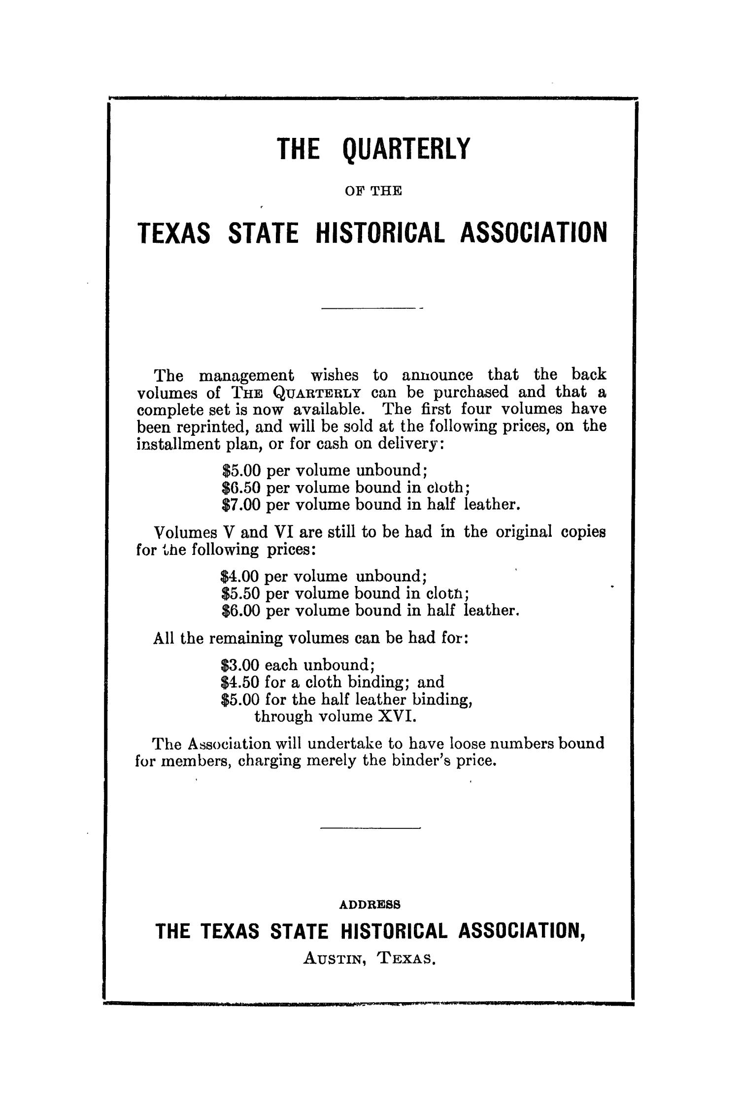 The Southwestern Historical Quarterly, Volume 40, July 1936 - April, 1937                                                                                                      None