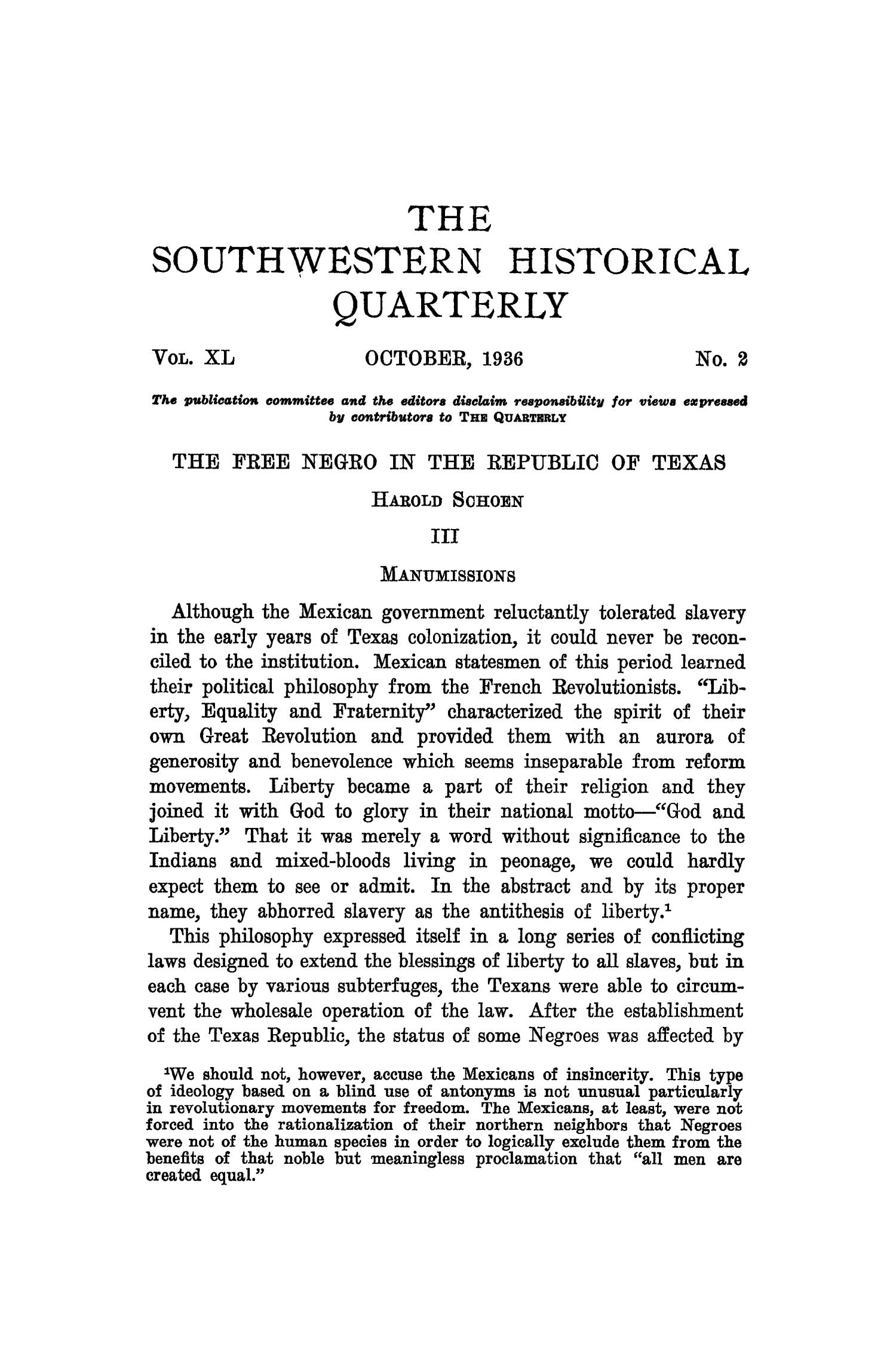 The Southwestern Historical Quarterly, Volume 40, July 1936 - April, 1937                                                                                                      85