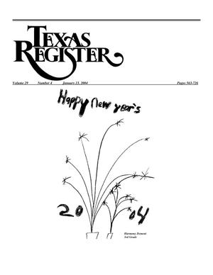 Primary view of object titled 'Texas Register, Volume 29, Number 4, Pages 563-726, January 23, 2004'.