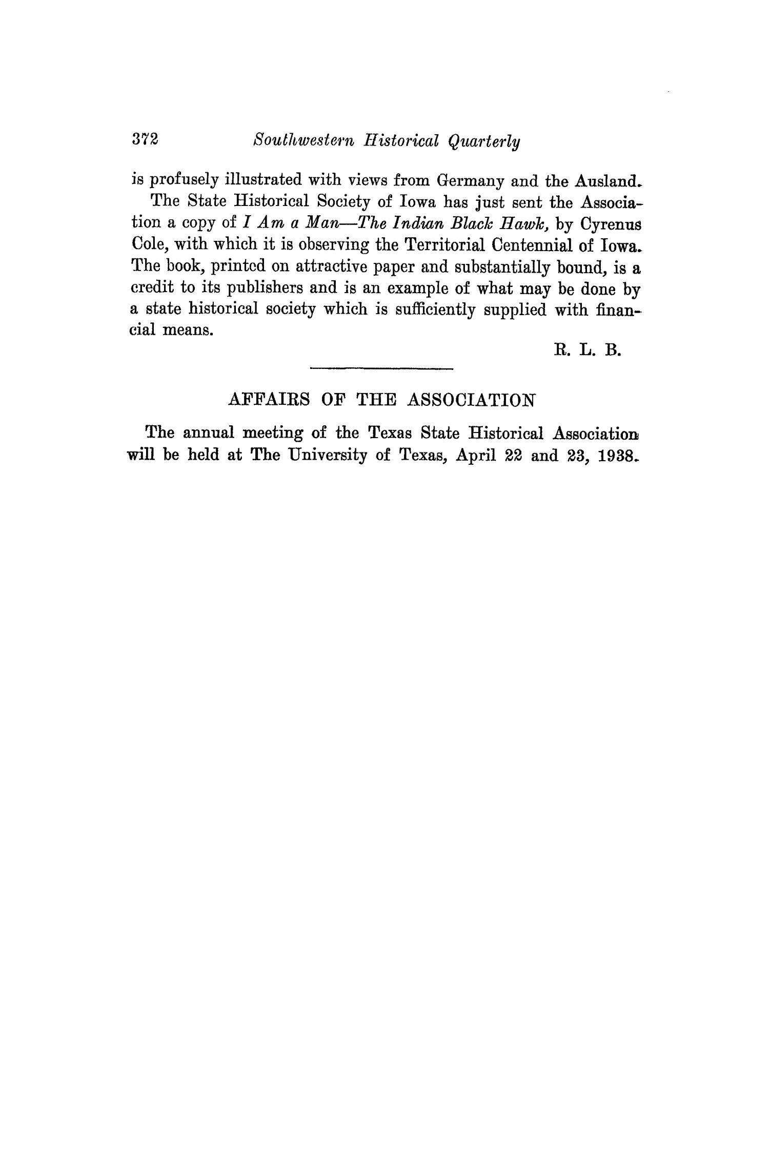 The Southwestern Historical Quarterly, Volume 41, July 1937 - April, 1938                                                                                                      372