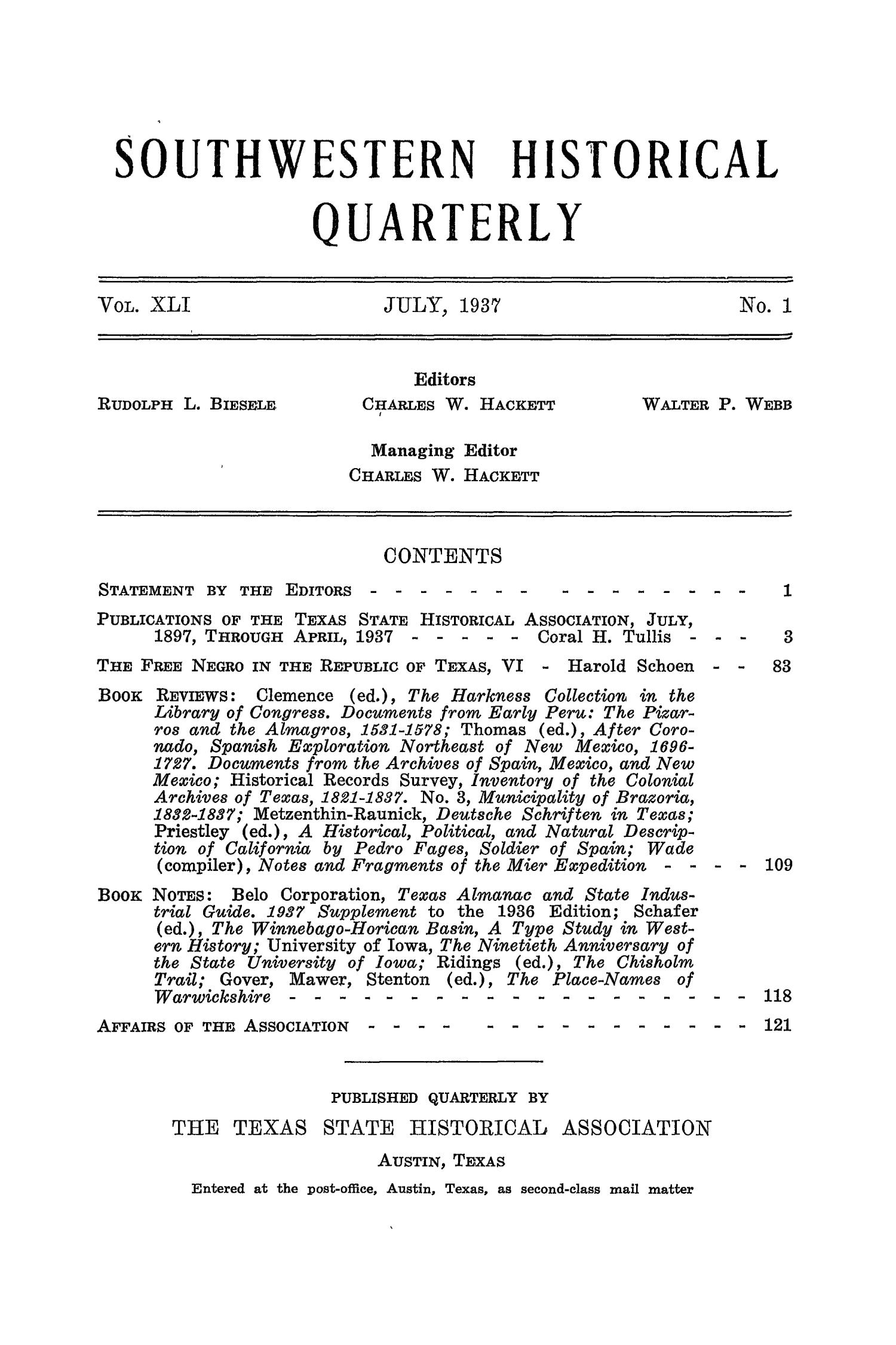 The Southwestern Historical Quarterly, Volume 41, July 1937 - April, 1938                                                                                                      None