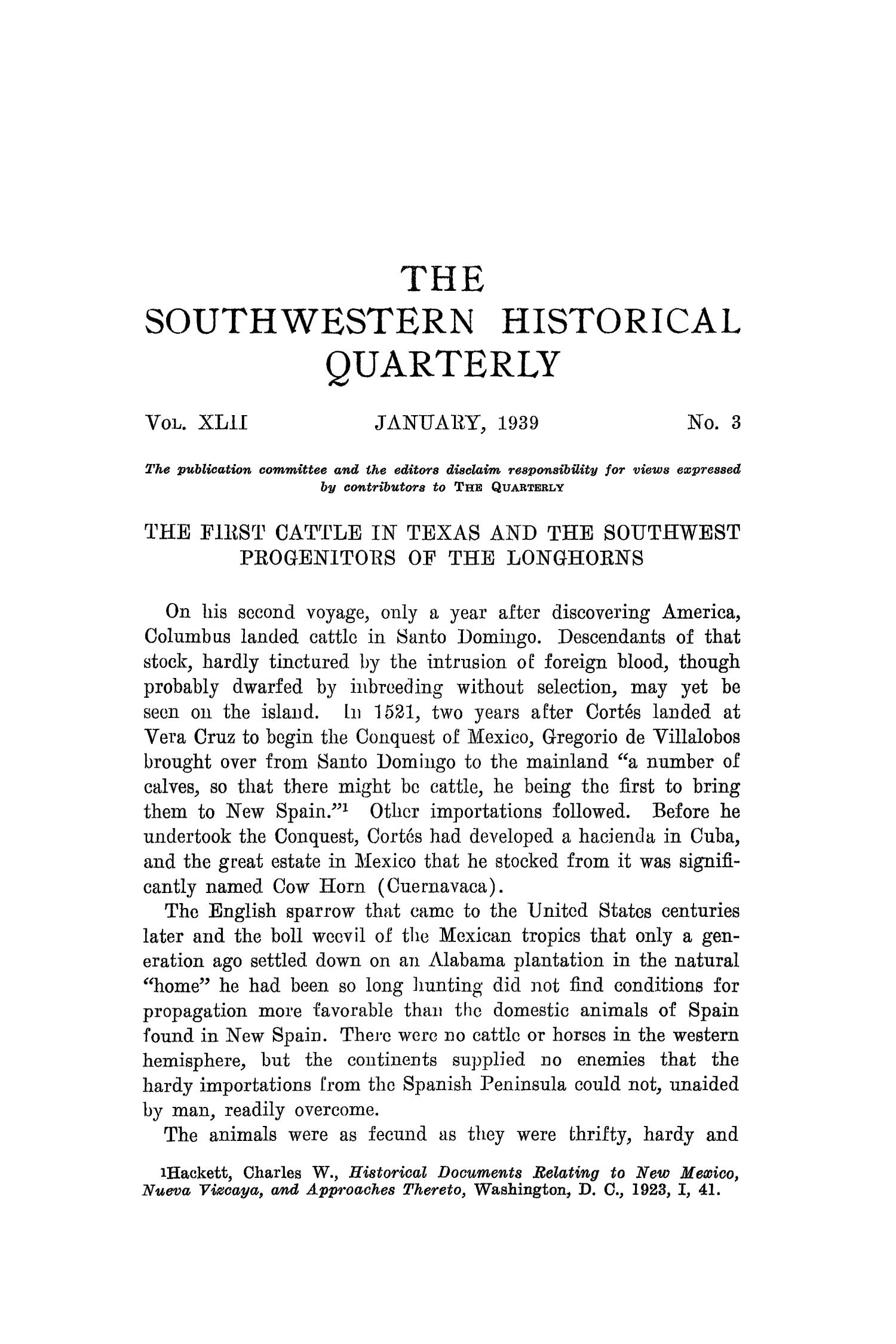 The Southwestern Historical Quarterly, Volume 42, July 1938 - April, 1939                                                                                                      171