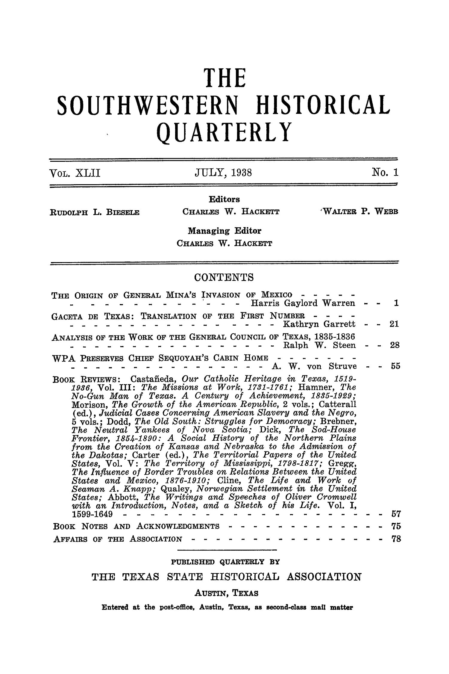 The Southwestern Historical Quarterly, Volume 42, July 1938 - April, 1939                                                                                                      None