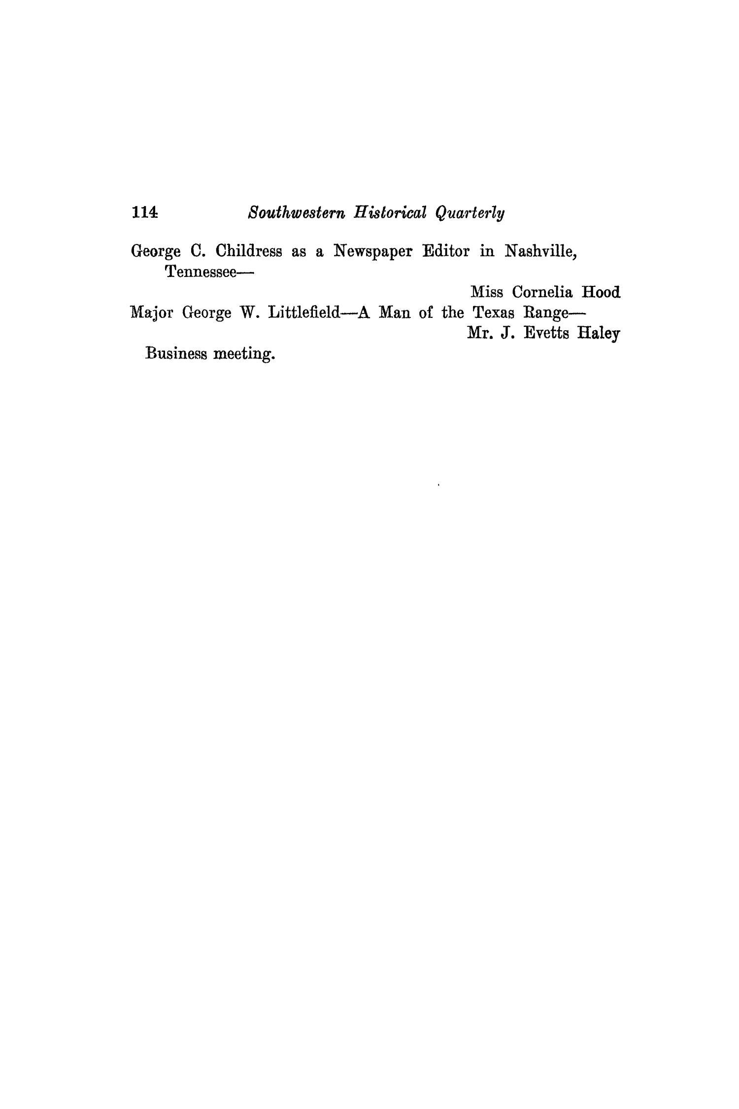The Southwestern Historical Quarterly, Volume 43, July 1939 - April, 1940                                                                                                      114
