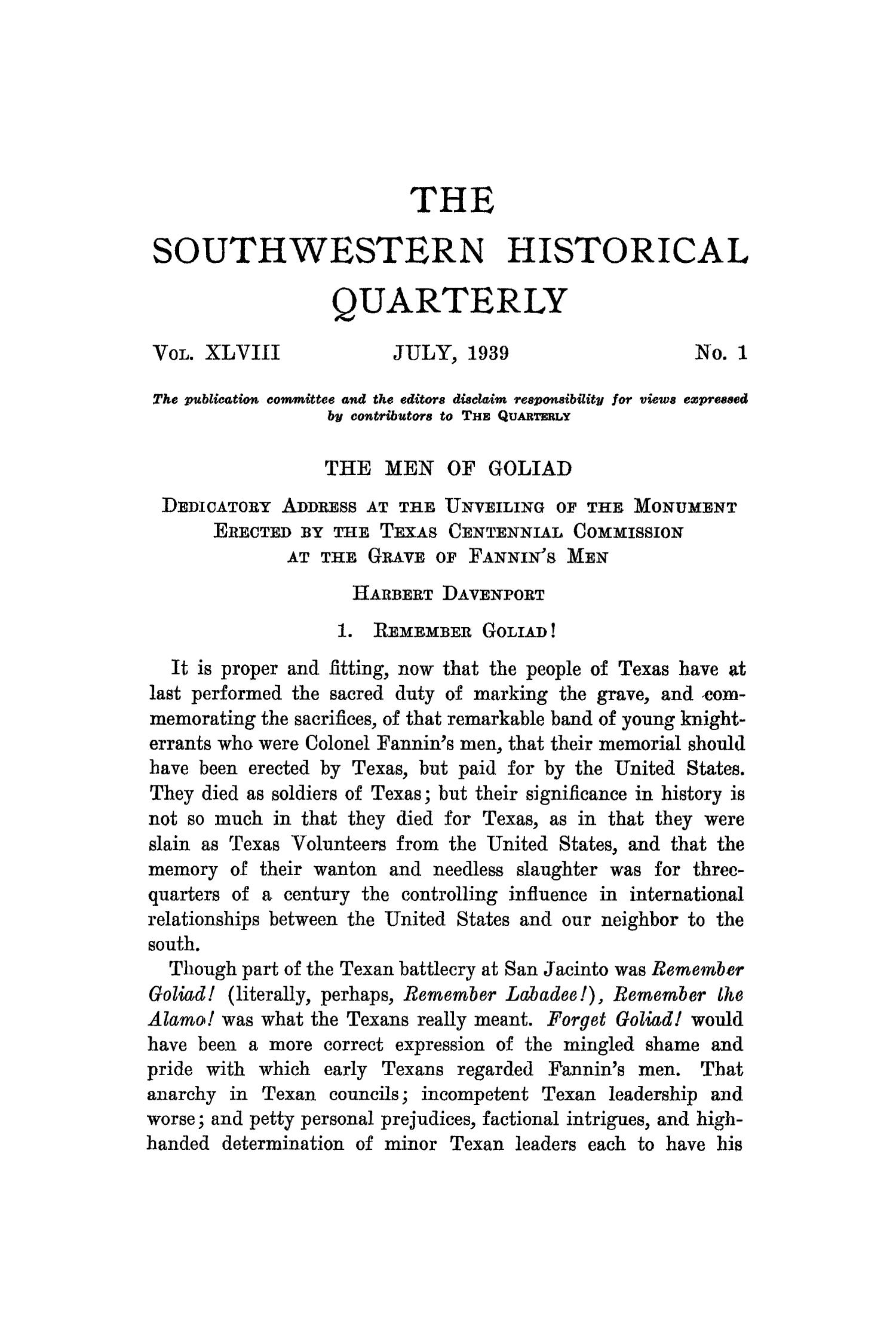The Southwestern Historical Quarterly, Volume 43, July 1939 - April, 1940                                                                                                      1