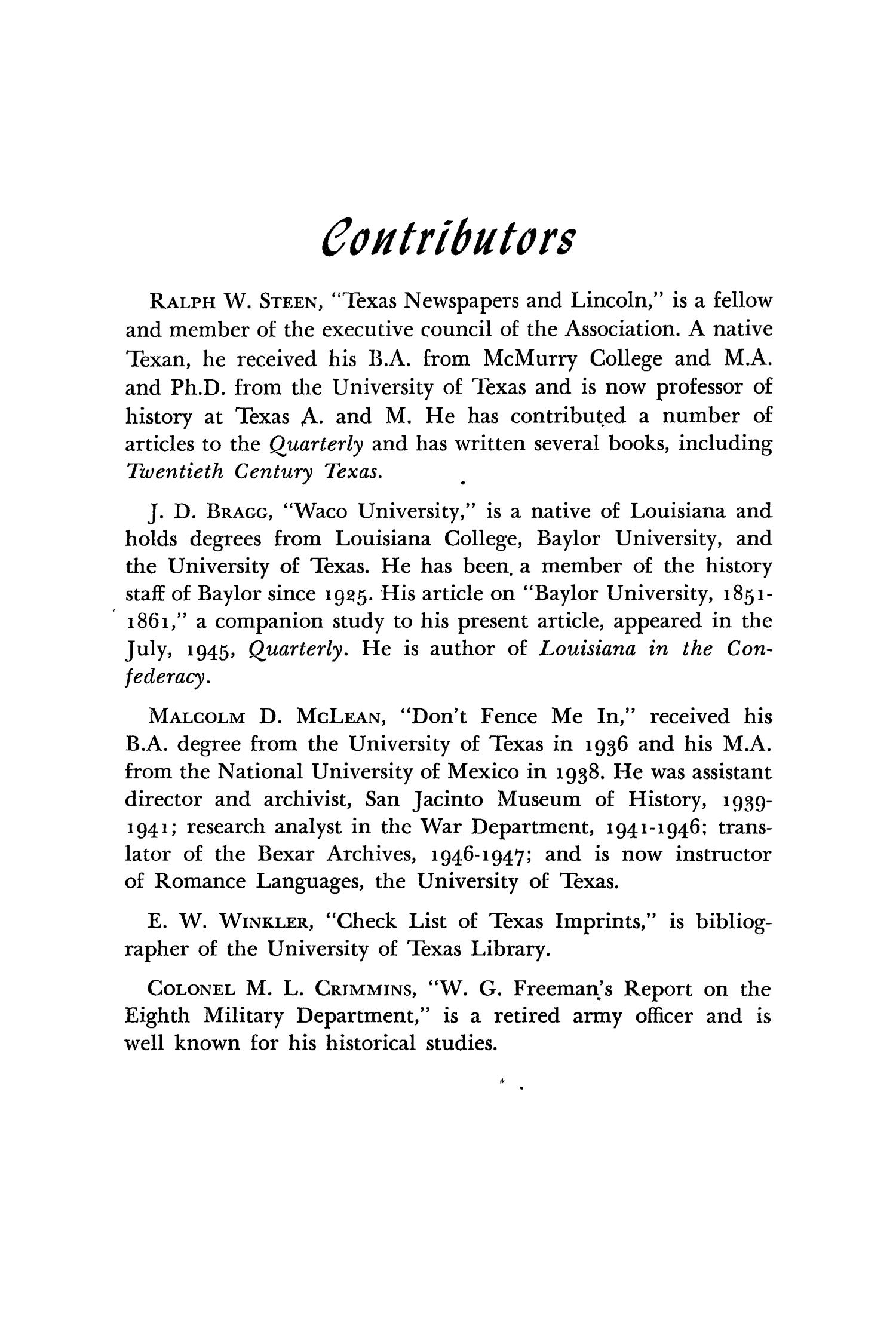 The Southwestern Historical Quarterly, Volume 51, July 1947 - April, 1948                                                                                                      291