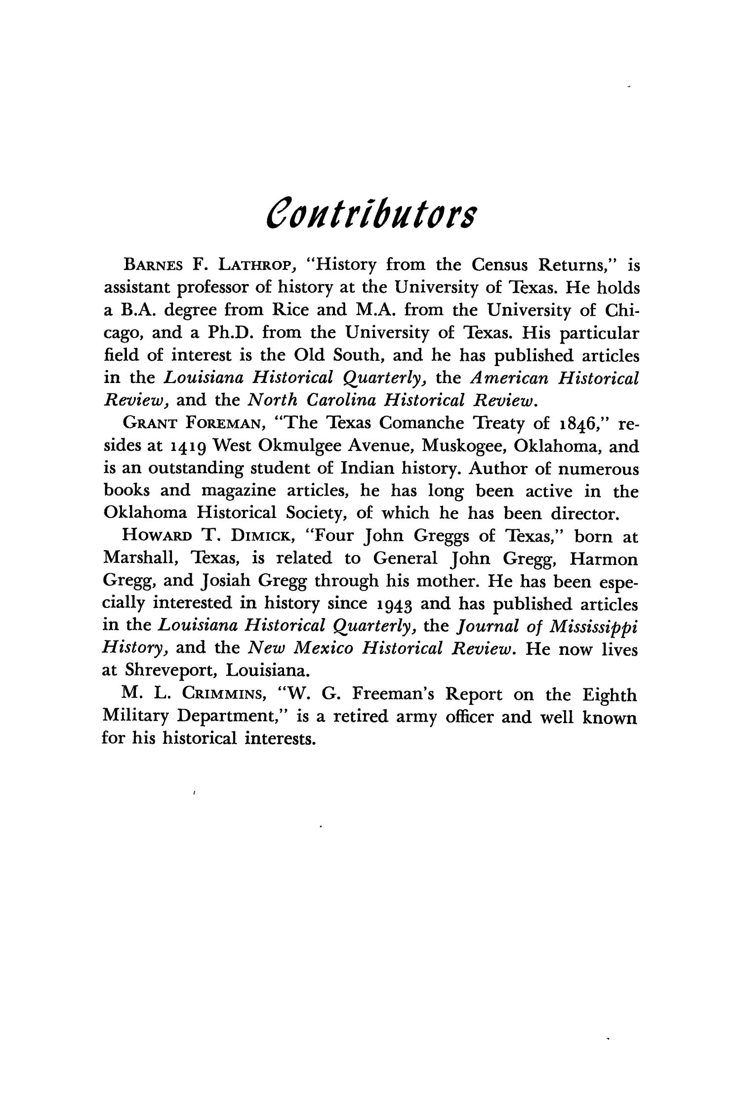The Southwestern Historical Quarterly, Volume 51, July 1947 - April, 1948                                                                                                      384