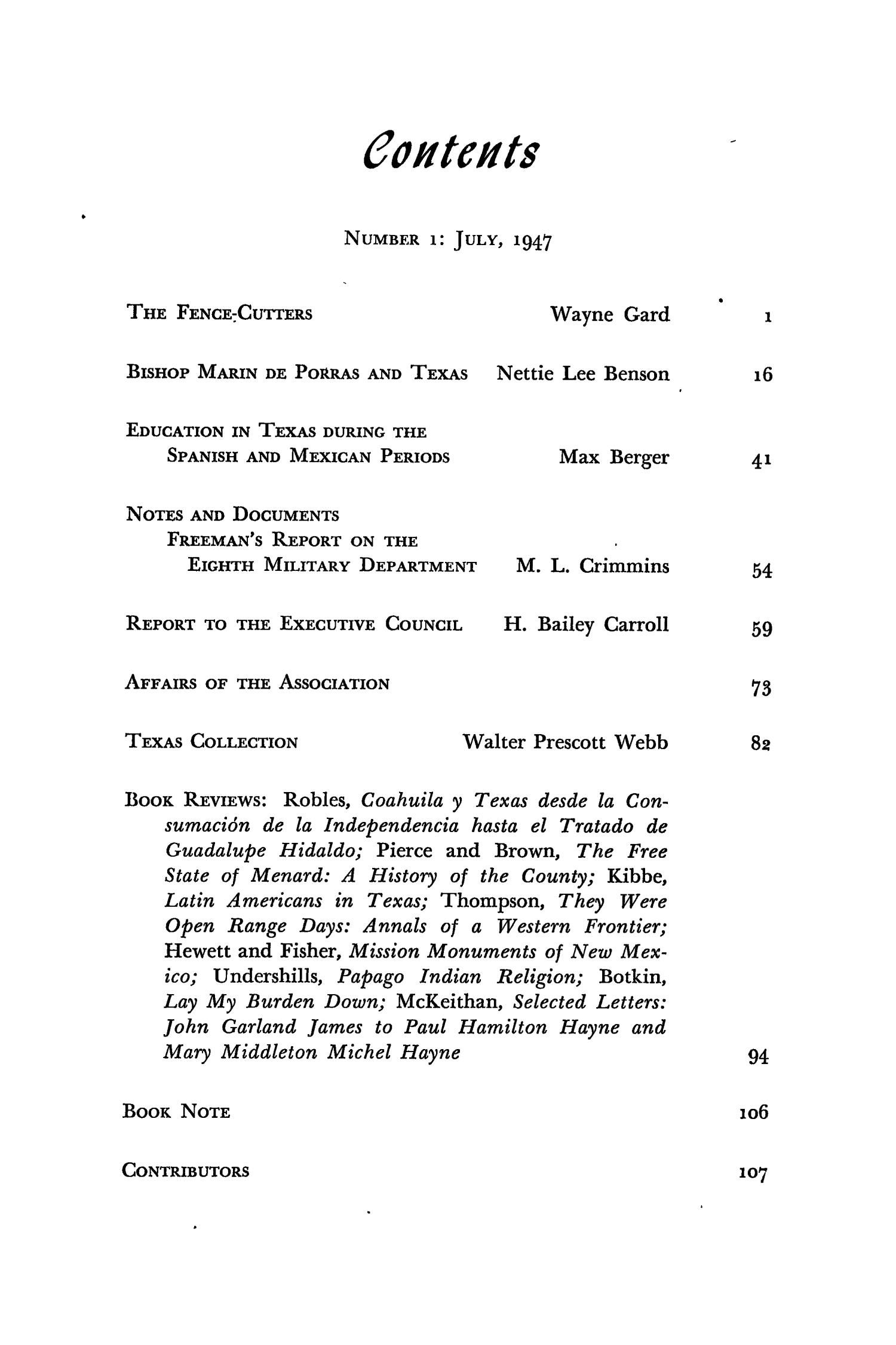 The Southwestern Historical Quarterly, Volume 51, July 1947 - April, 1948                                                                                                      None
