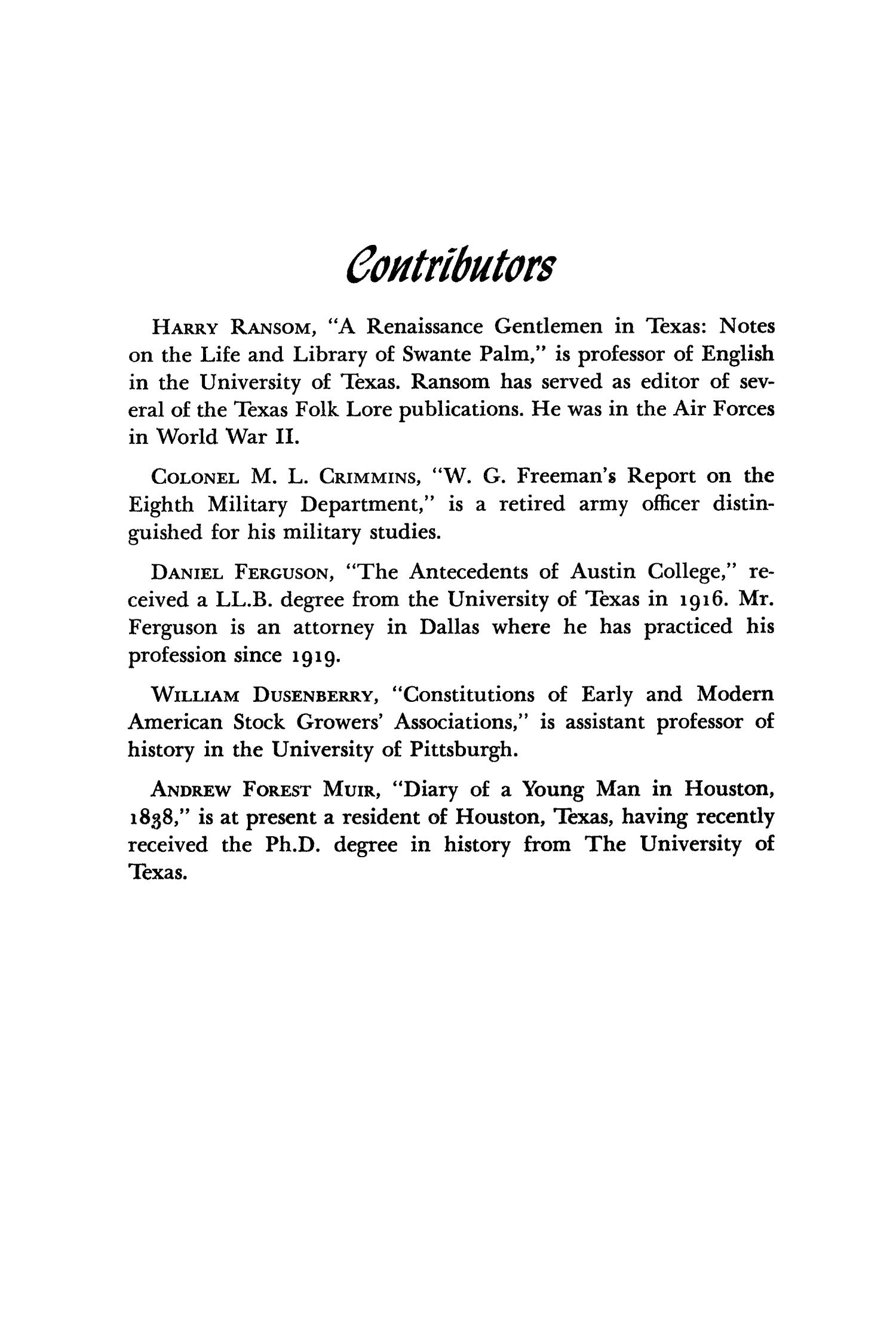 The Southwestern Historical Quarterly, Volume 53, July 1949 - April, 1950                                                                                                      346