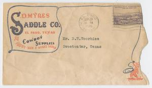 Primary view of object titled '[Envelope Addressed to D. W. Voorhies]'.