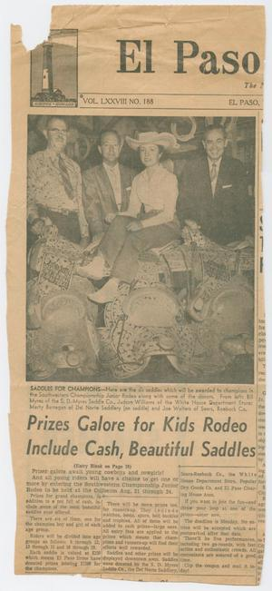 [S.D. Myres Saddles to be given to winners of the Junior Rodeo]