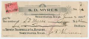 Primary view of object titled '[Check from J. F. Newman to Sam Myres, June 2, 1899]'.