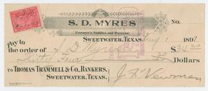 Primary view of object titled '[Check from J. F. Newman to Sam Myres, August 1, 1899]'.