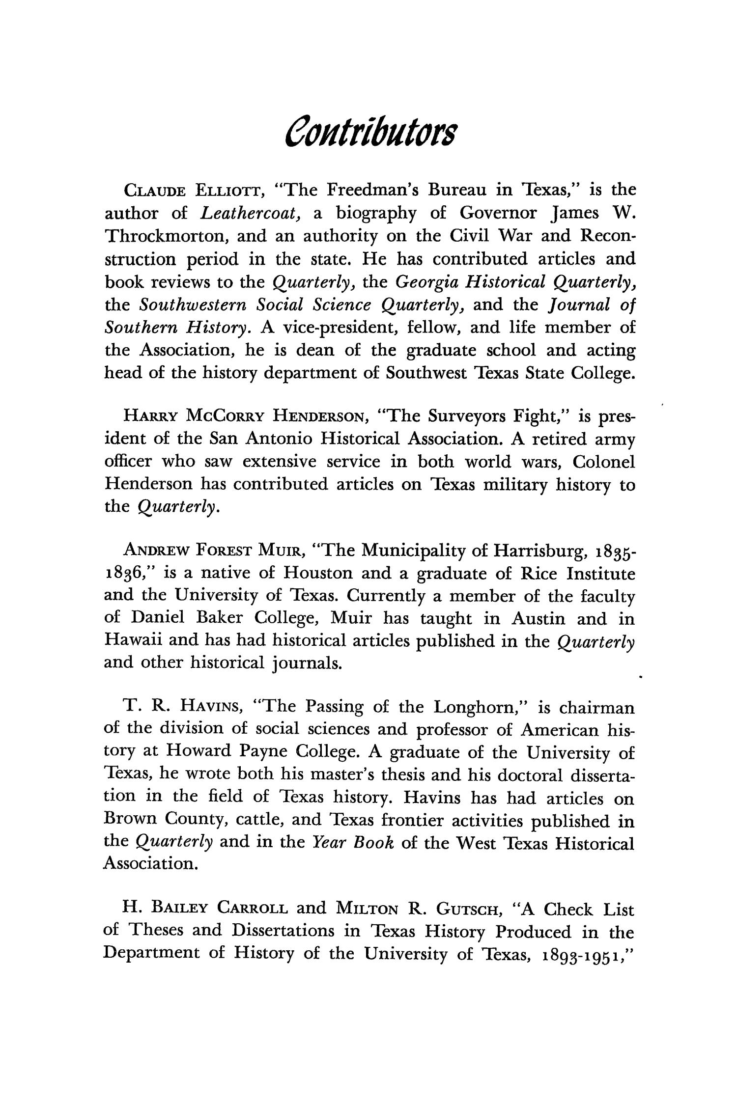 The Southwestern Historical Quarterly, Volume 56, July 1952 - April, 1953                                                                                                      187