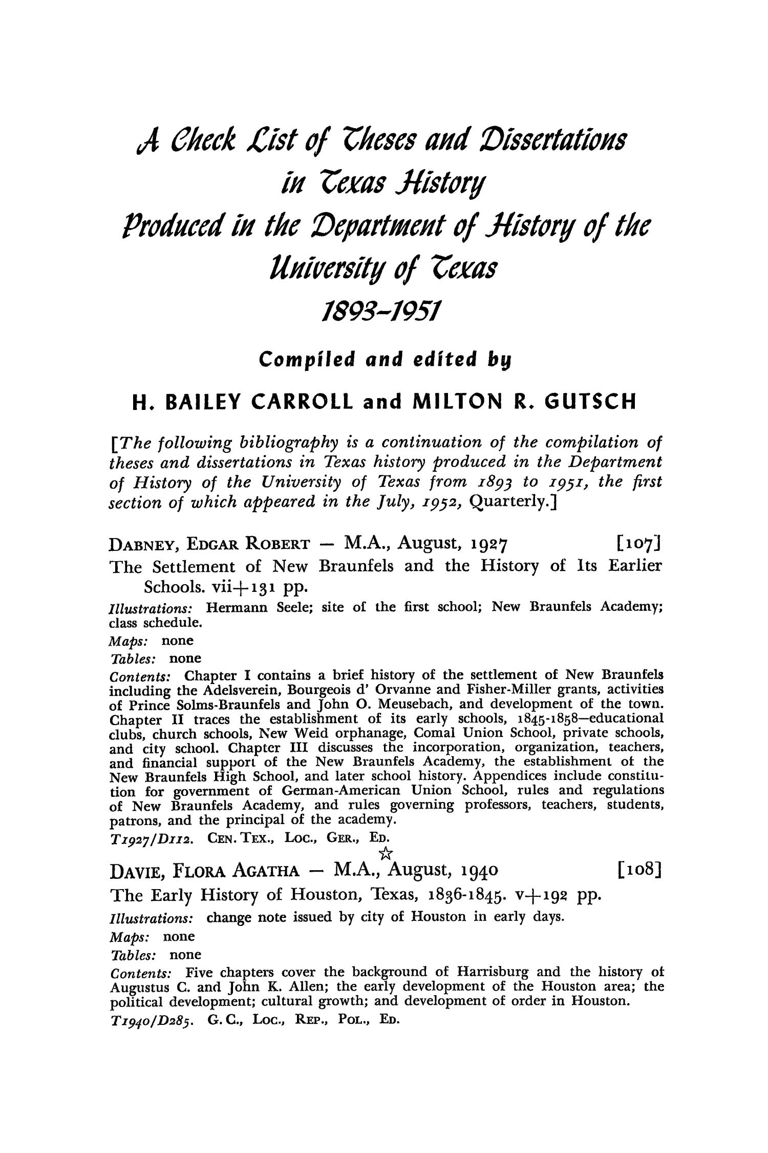 The Southwestern Historical Quarterly, Volume 56, July 1952 - April, 1953                                                                                                      254