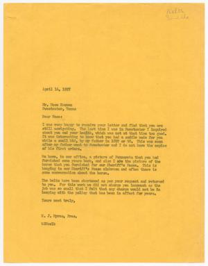 [Letter from W. J. Myres to Mose Newman, April 16, 1957]