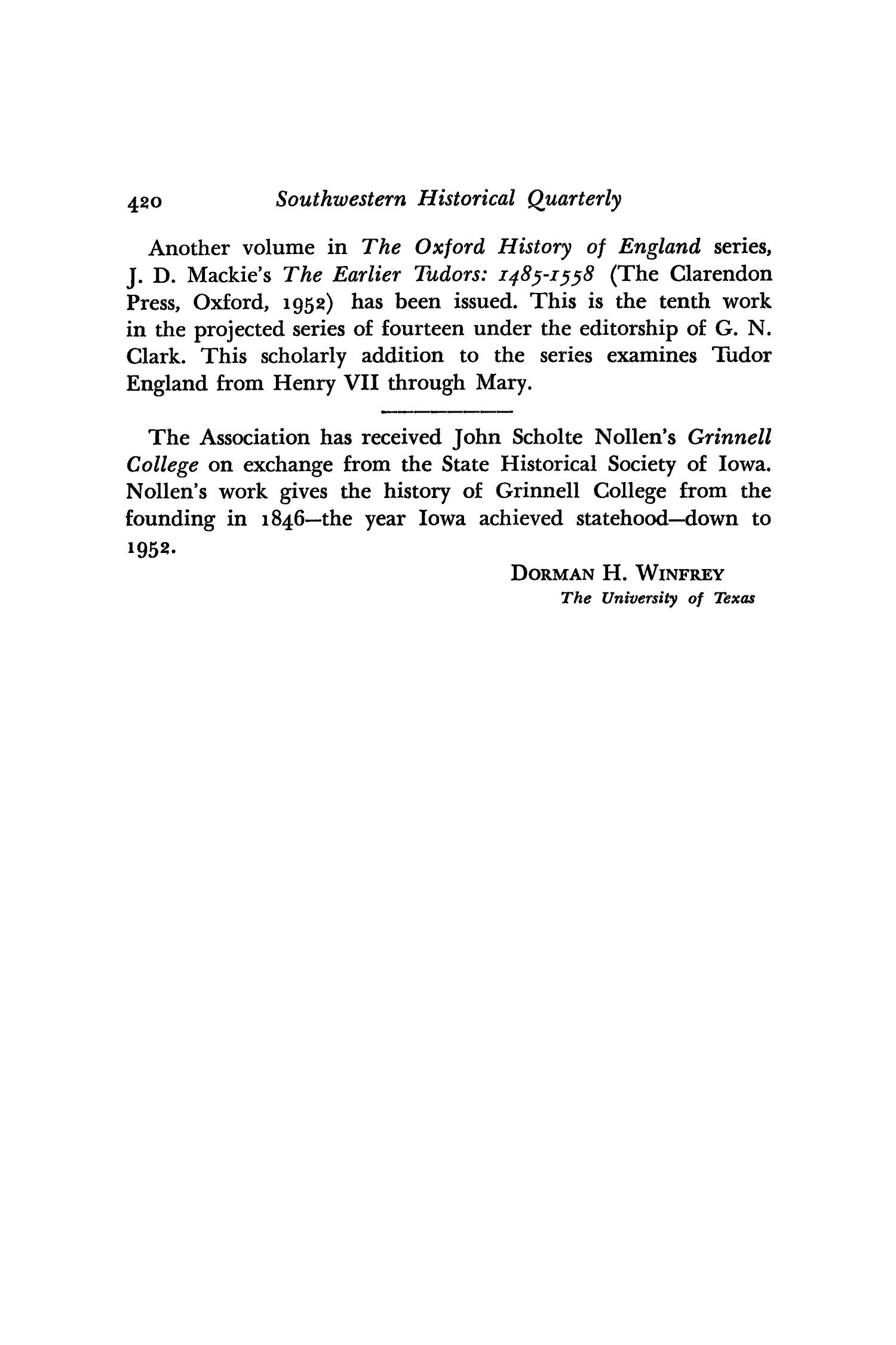 The Southwestern Historical Quarterly, Volume 57, July 1953 - April, 1954                                                                                                      420