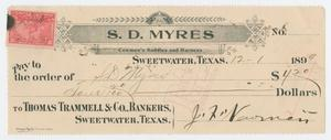 Primary view of object titled '[Check from J. F. Newman to Sam Myres, December 1, 1899]'.