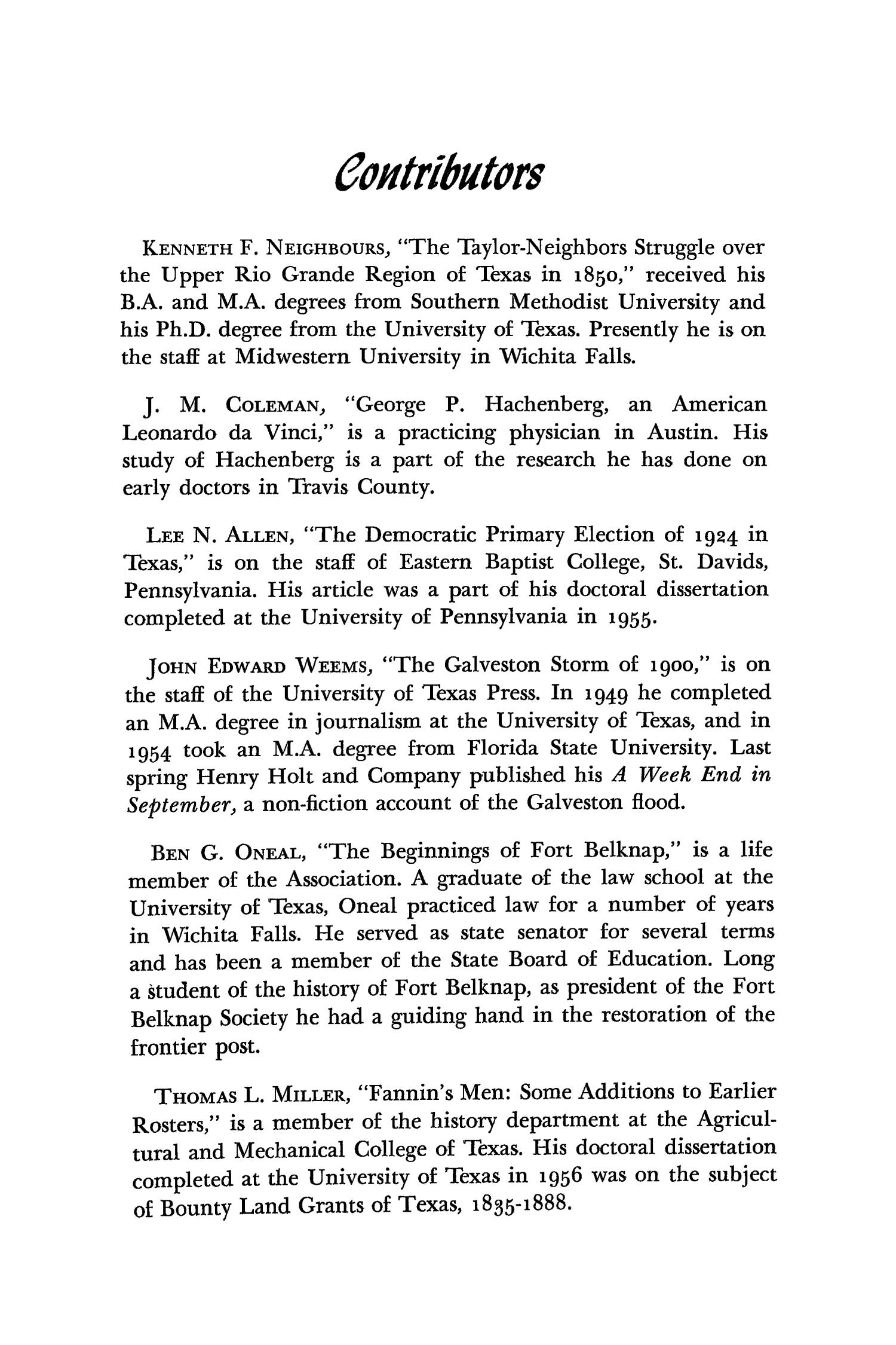 The Southwestern Historical Quarterly, Volume 61, July 1957 - April, 1958                                                                                                      560