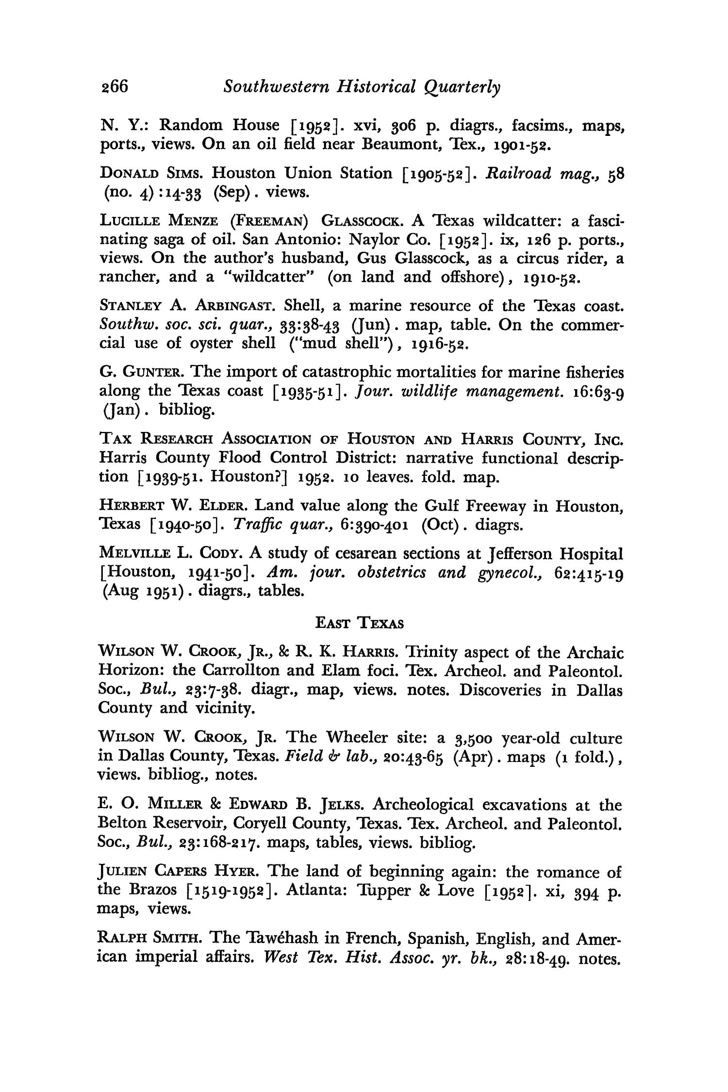 The Southwestern Historical Quarterly, Volume 62, July 1958 - April, 1959                                                                                                      266