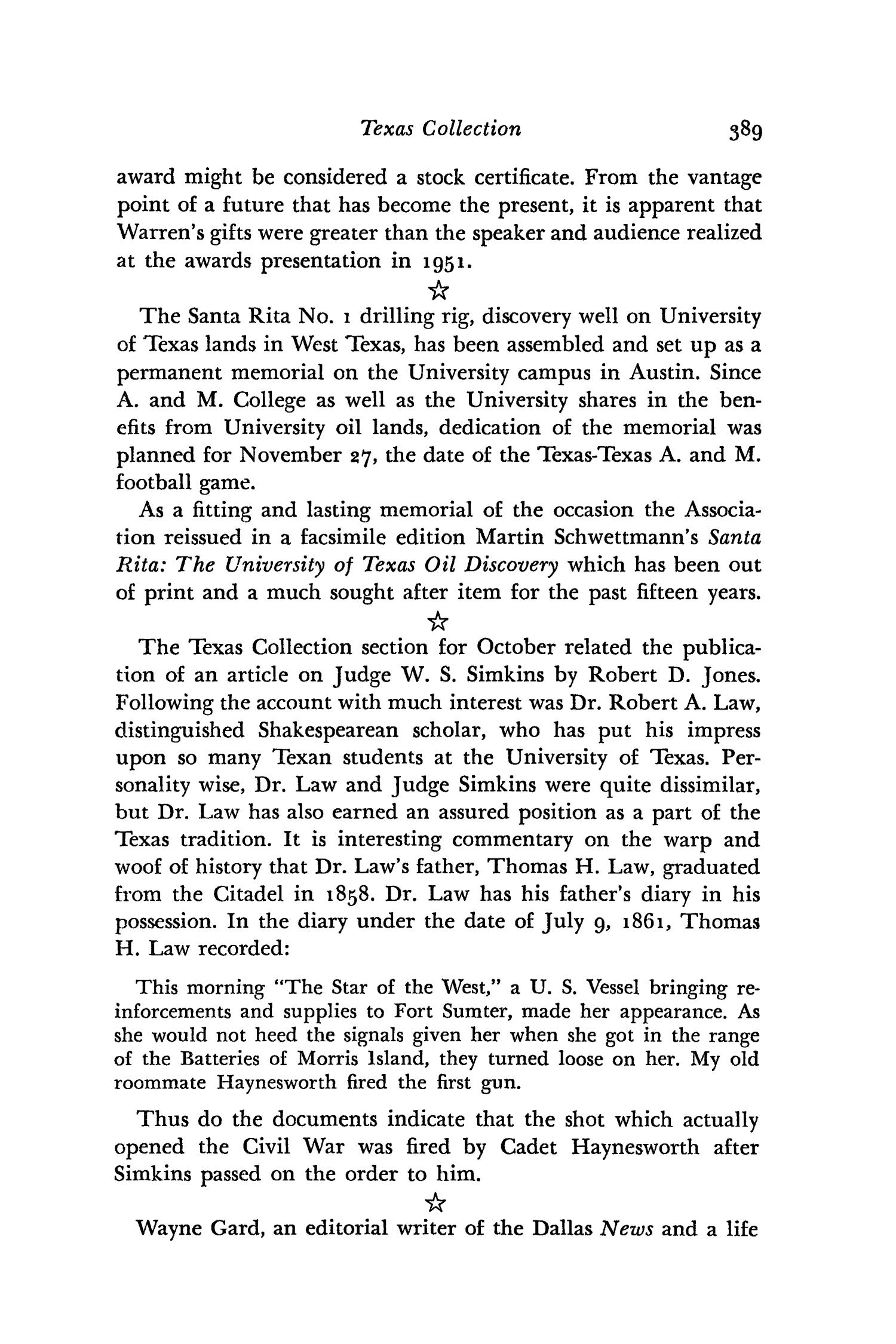The Southwestern Historical Quarterly, Volume 62, July 1958 - April, 1959                                                                                                      389