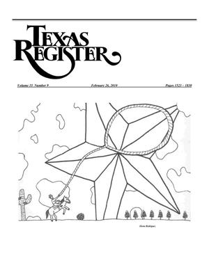 Primary view of object titled 'Texas Register, Volume 35, Number 9, Pages 1523-1830, February 26, 2010'.