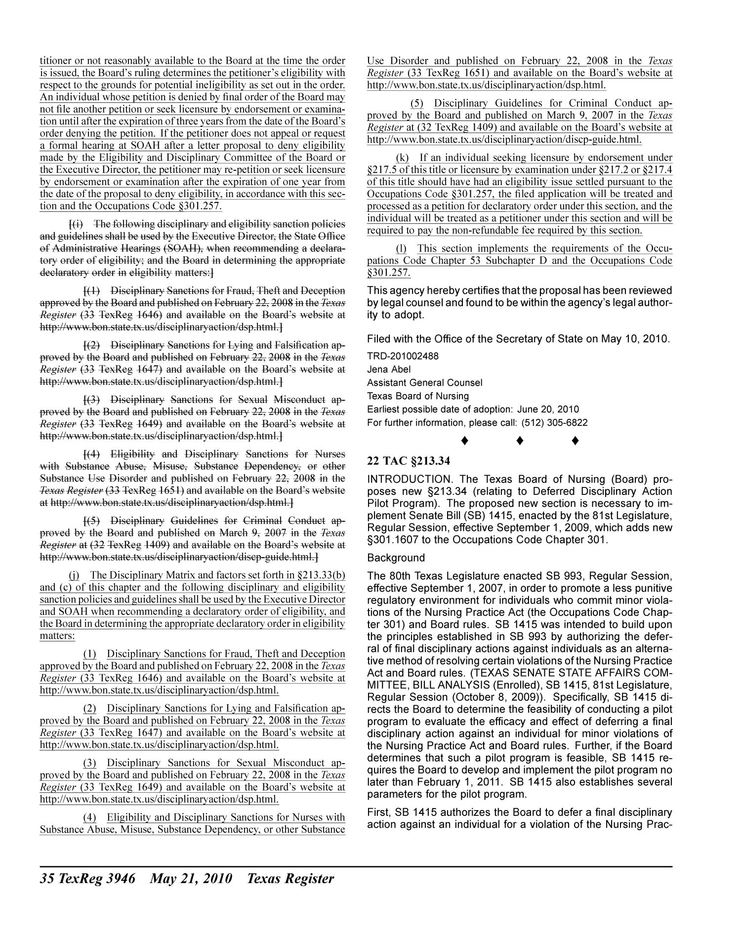 Texas Register, Volume 35, Number 21, Pages 3905-4274, May 21, 2010                                                                                                      3946