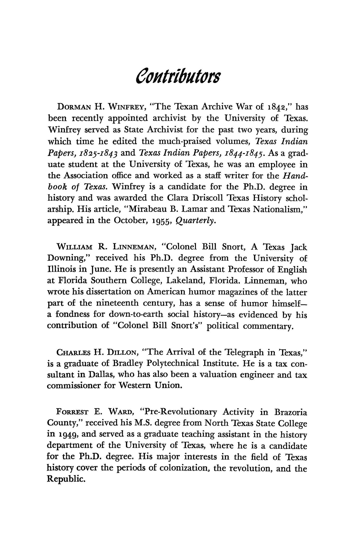 The Southwestern Historical Quarterly, Volume 64, July 1960 - April, 1961                                                                                                      287