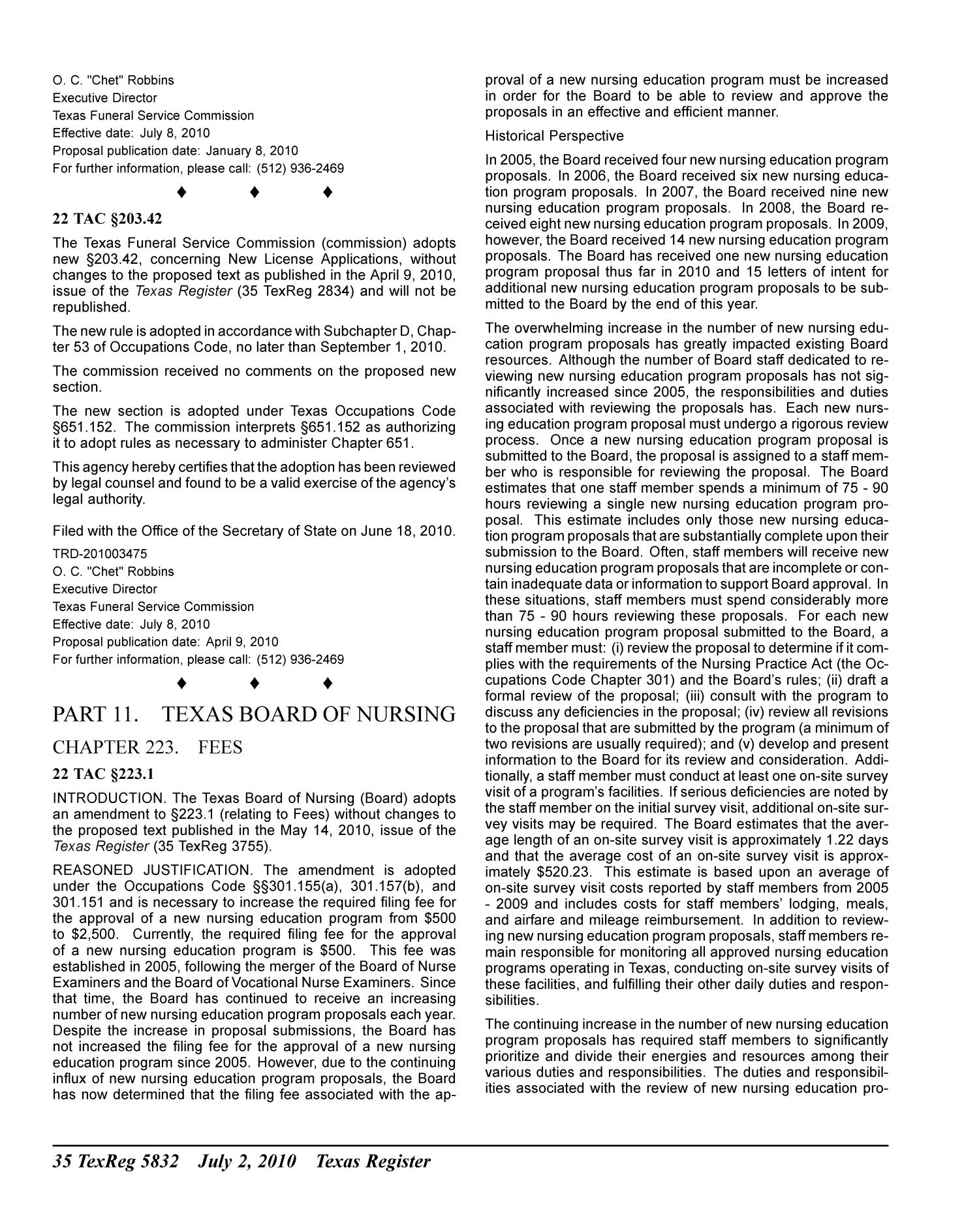 Texas Register, Volume 35, Number 27, Pages 5625-5980, July 2, 2010                                                                                                      5832