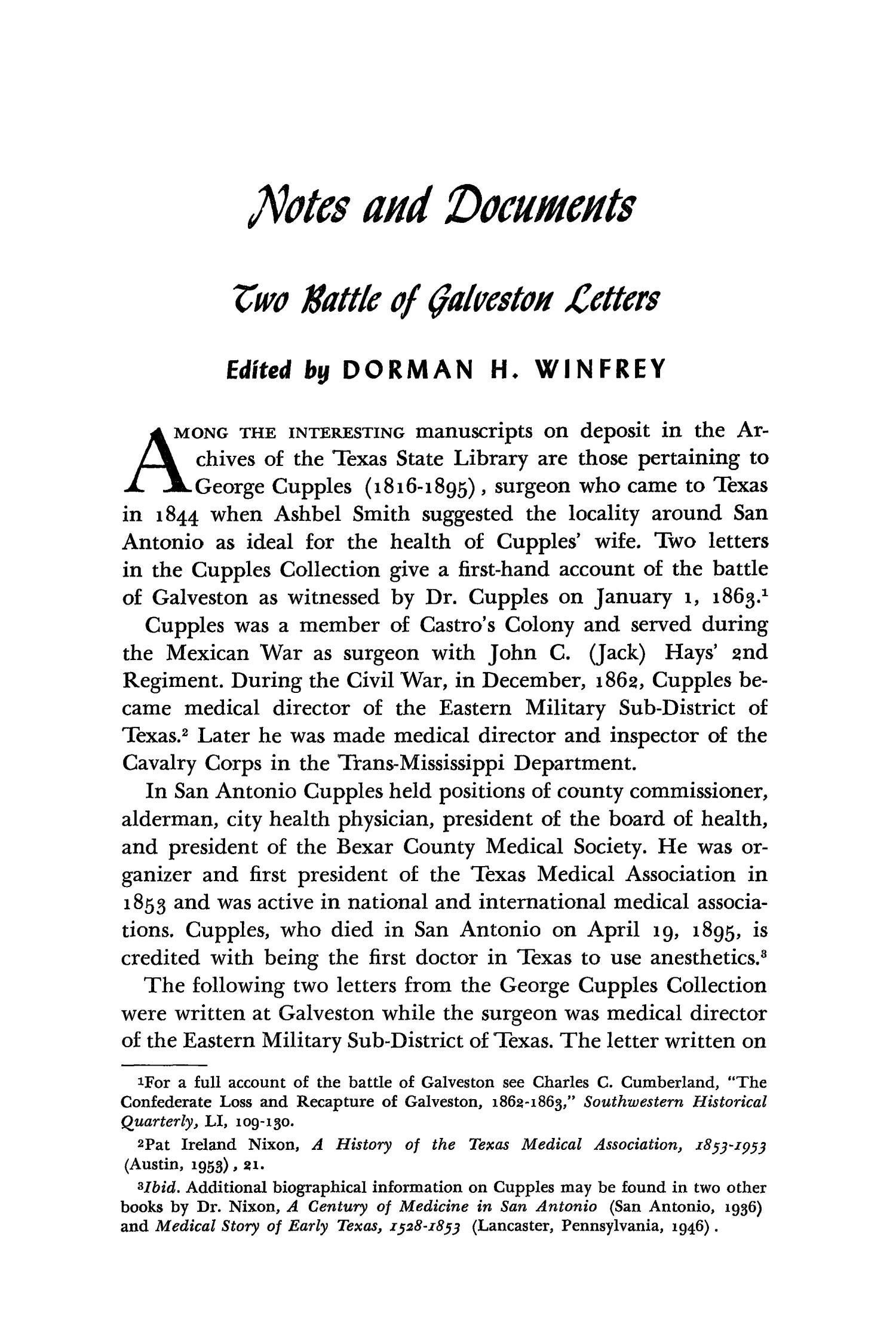 The Southwestern Historical Quarterly, Volume 65, July 1961 - April, 1962                                                                                                      251