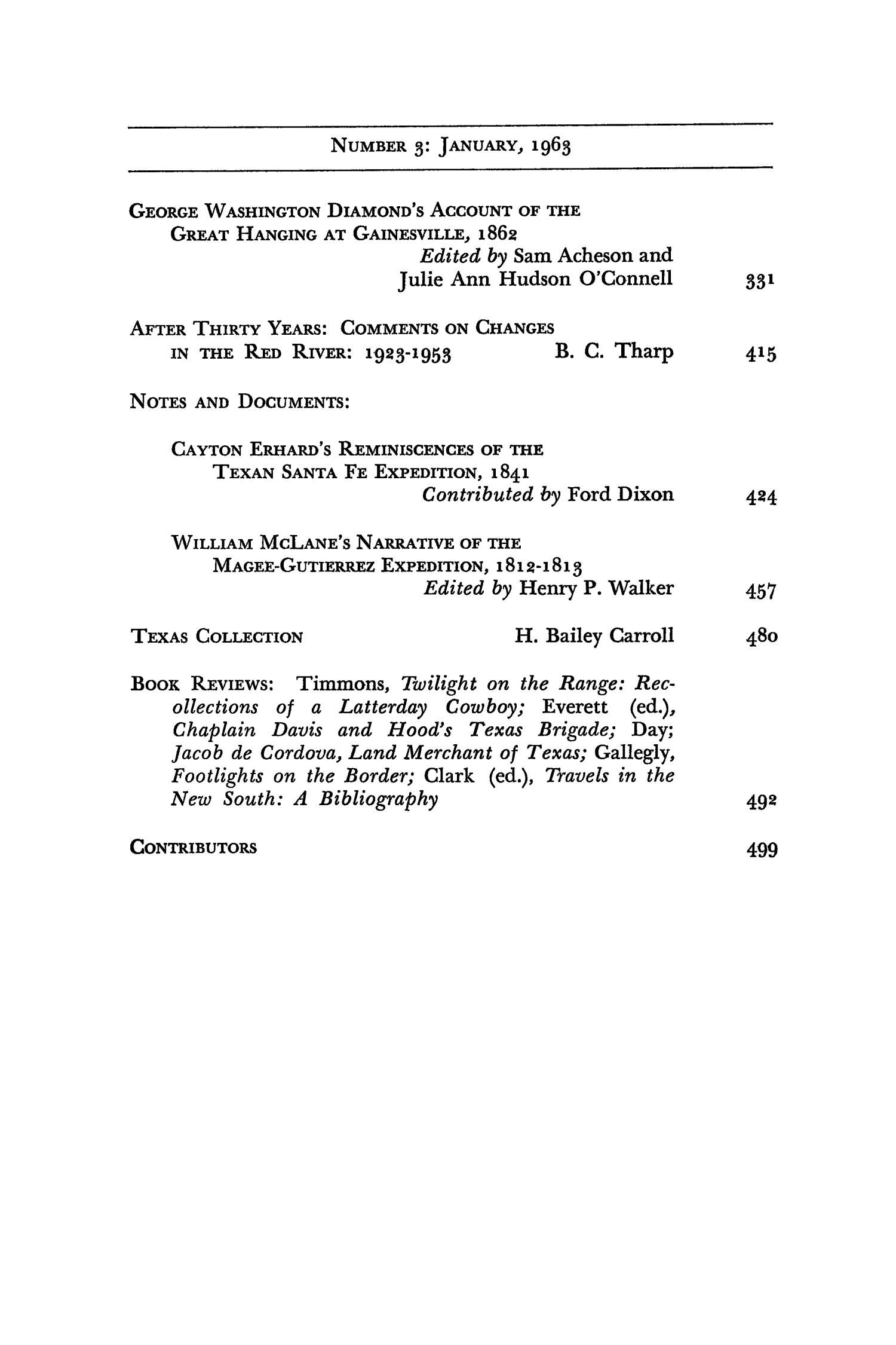 The Southwestern Historical Quarterly, Volume 66, July 1962 - April, 1963                                                                                                      None