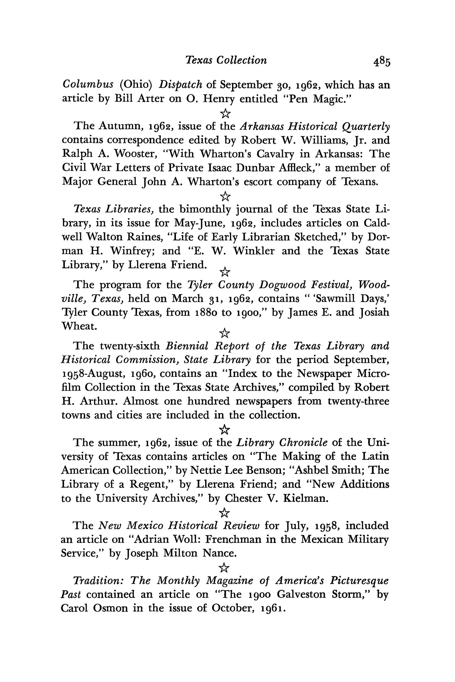 The Southwestern Historical Quarterly, Volume 66, July 1962 - April, 1963                                                                                                      485