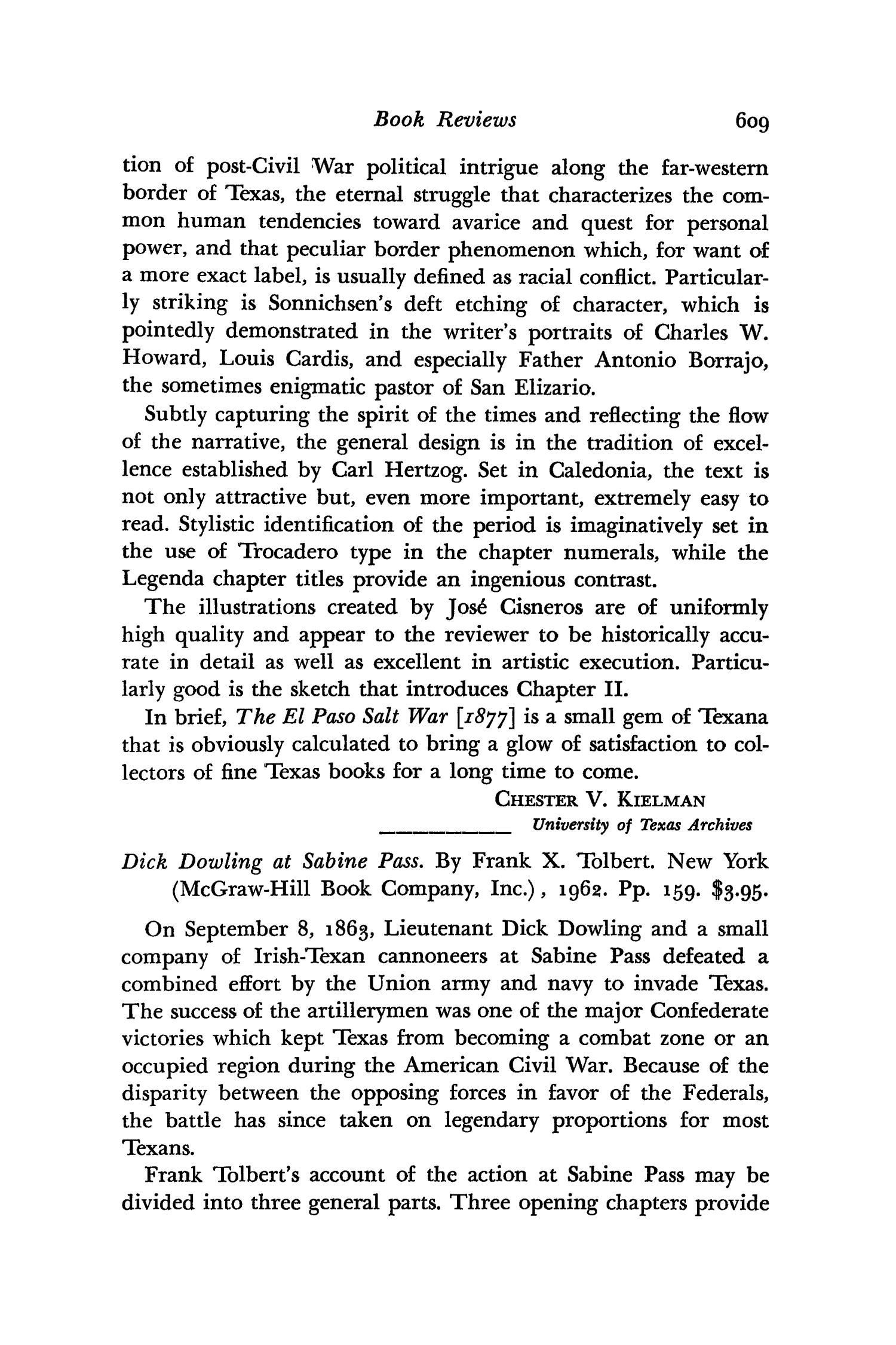 The Southwestern Historical Quarterly, Volume 66, July 1962 - April, 1963                                                                                                      609