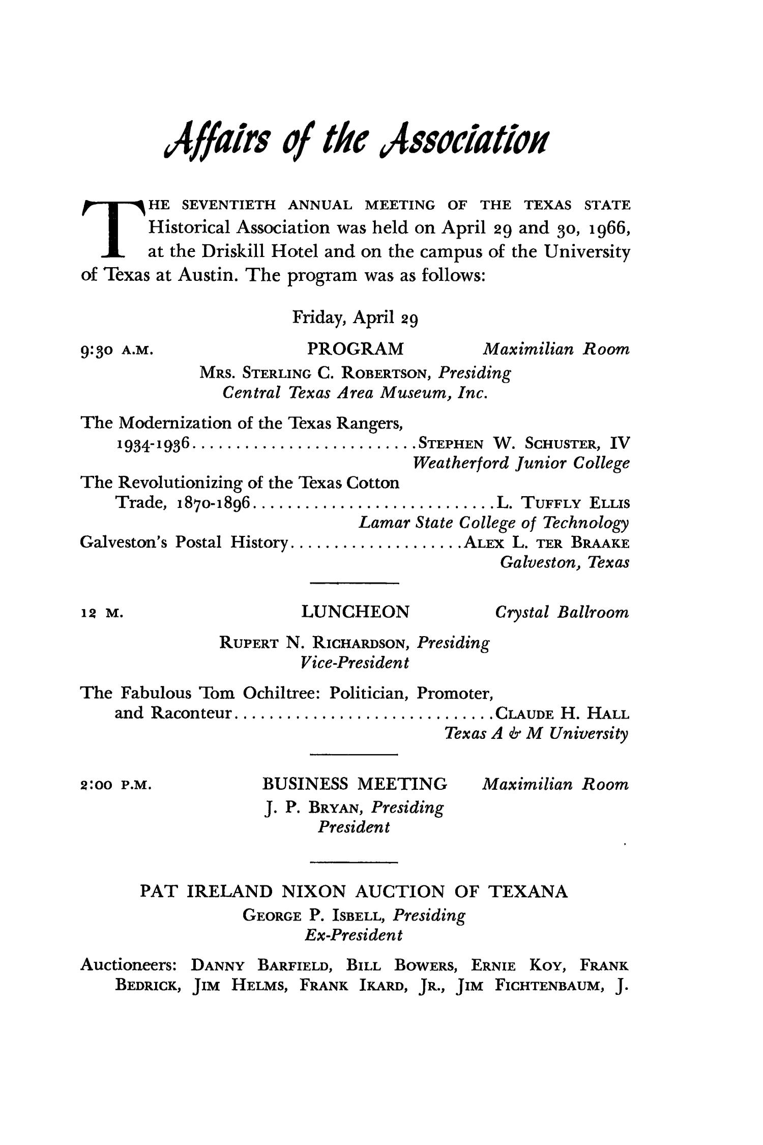 The Southwestern Historical Quarterly, Volume 70, July 1966 - April, 1967                                                                                                      119