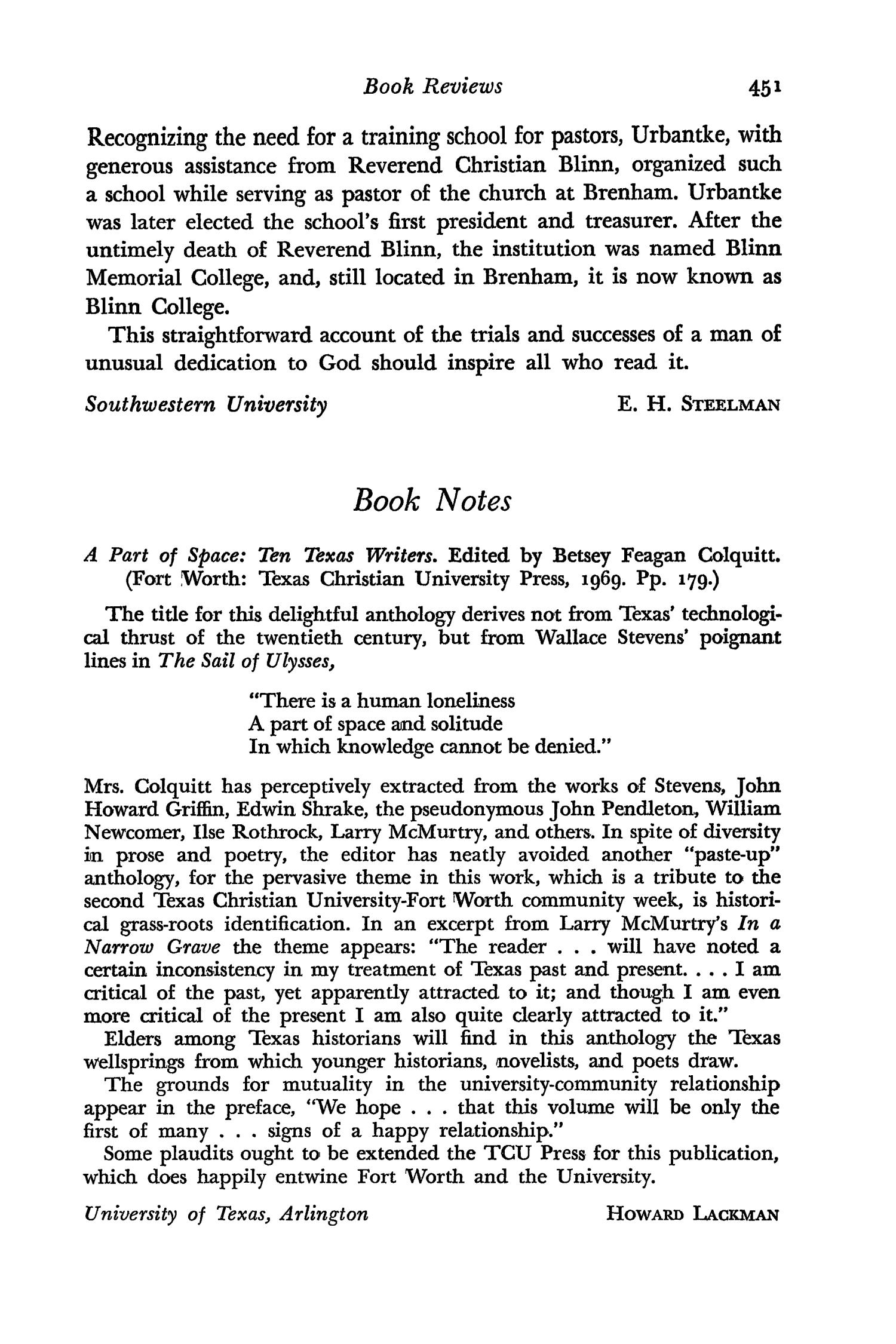 The Southwestern Historical Quarterly, Volume 74, July 1970 - April, 1971                                                                                                      451
