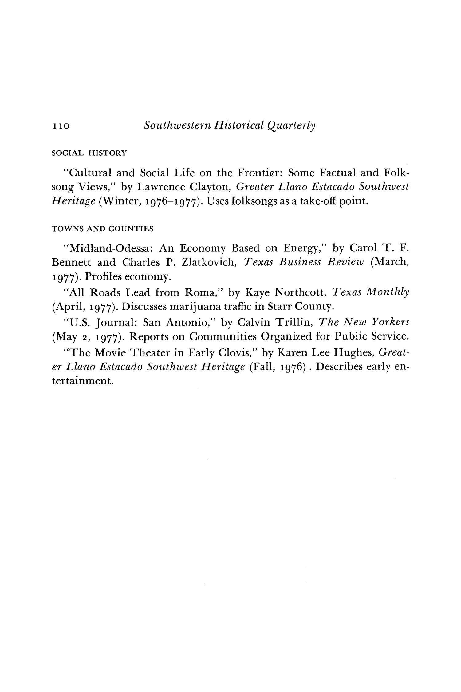 The Southwestern Historical Quarterly, Volume 81, July 1977 - April, 1978                                                                                                      110