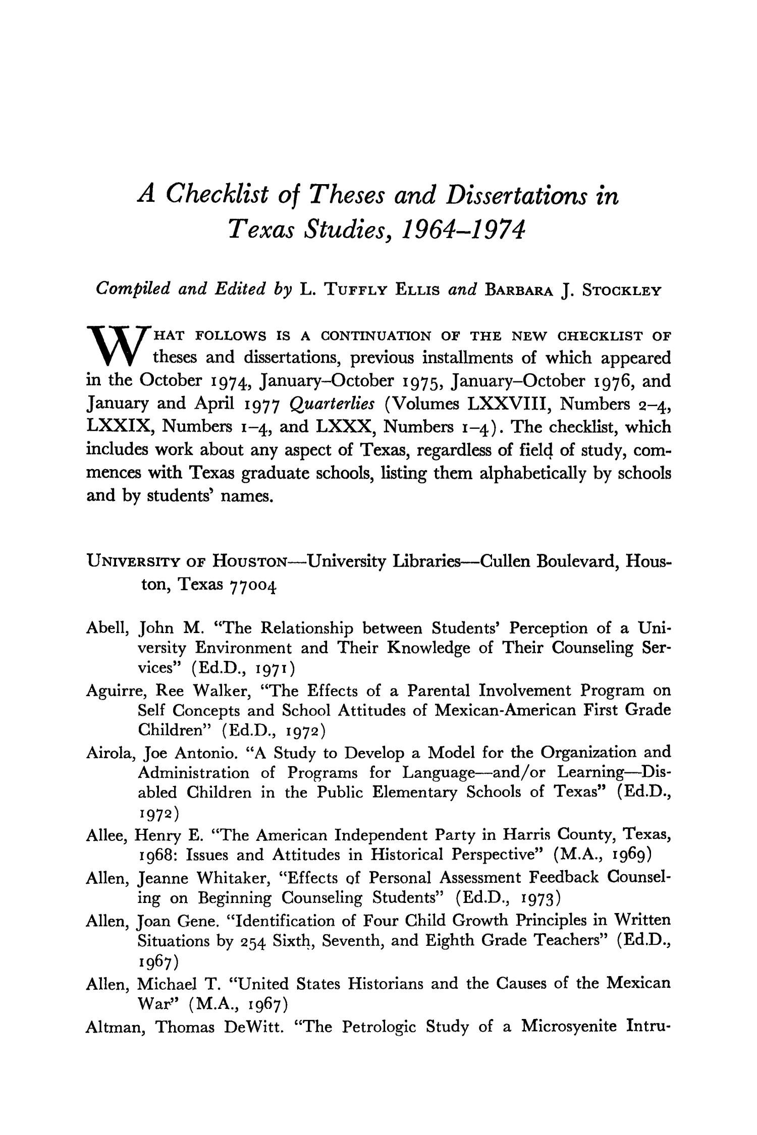 The Southwestern Historical Quarterly, Volume 81, July 1977 - April, 1978                                                                                                      73